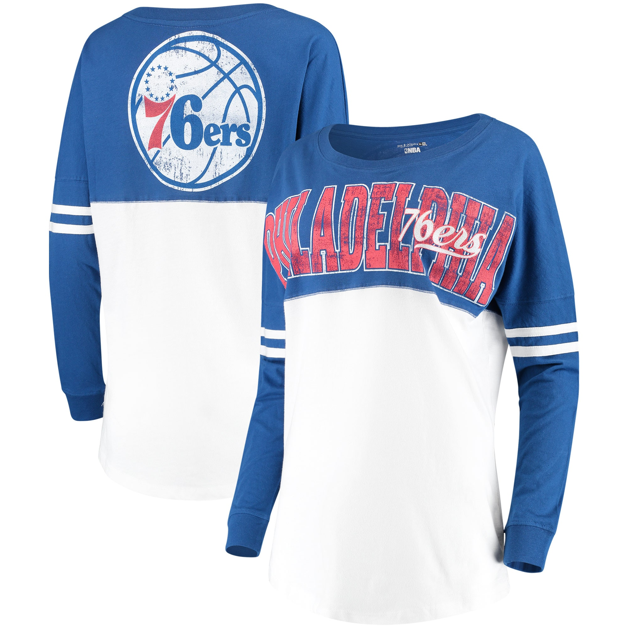 Philadelphia 76ers New Era Women's Baby Jersey Stripe Spirit Long Sleeve T-Shirt - White/Royal