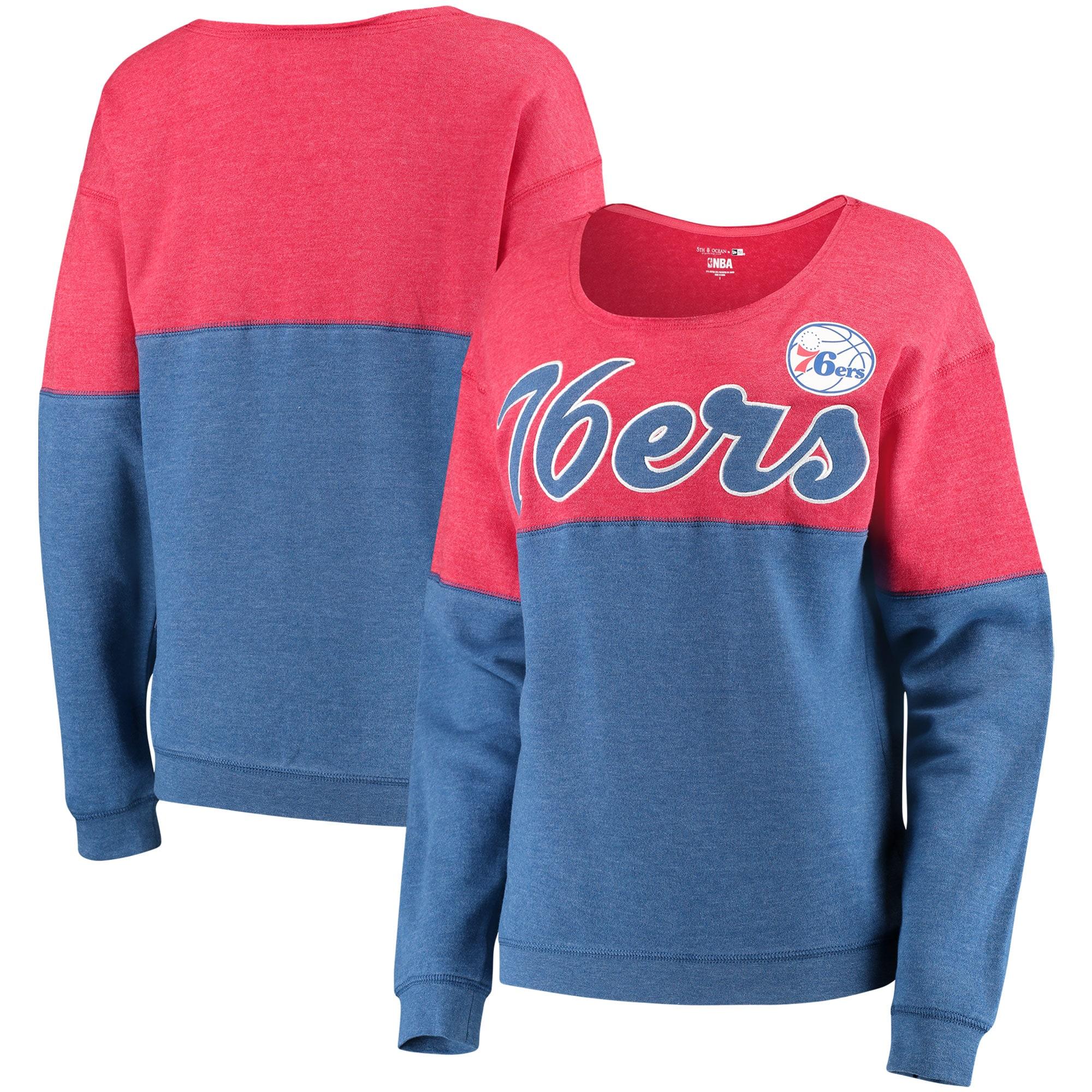 Philadelphia 76ers New Era Women's Fleece Tri-Blend Scoop Neck Pullover Sweatshirt - Heathered Royal/Heathered Red
