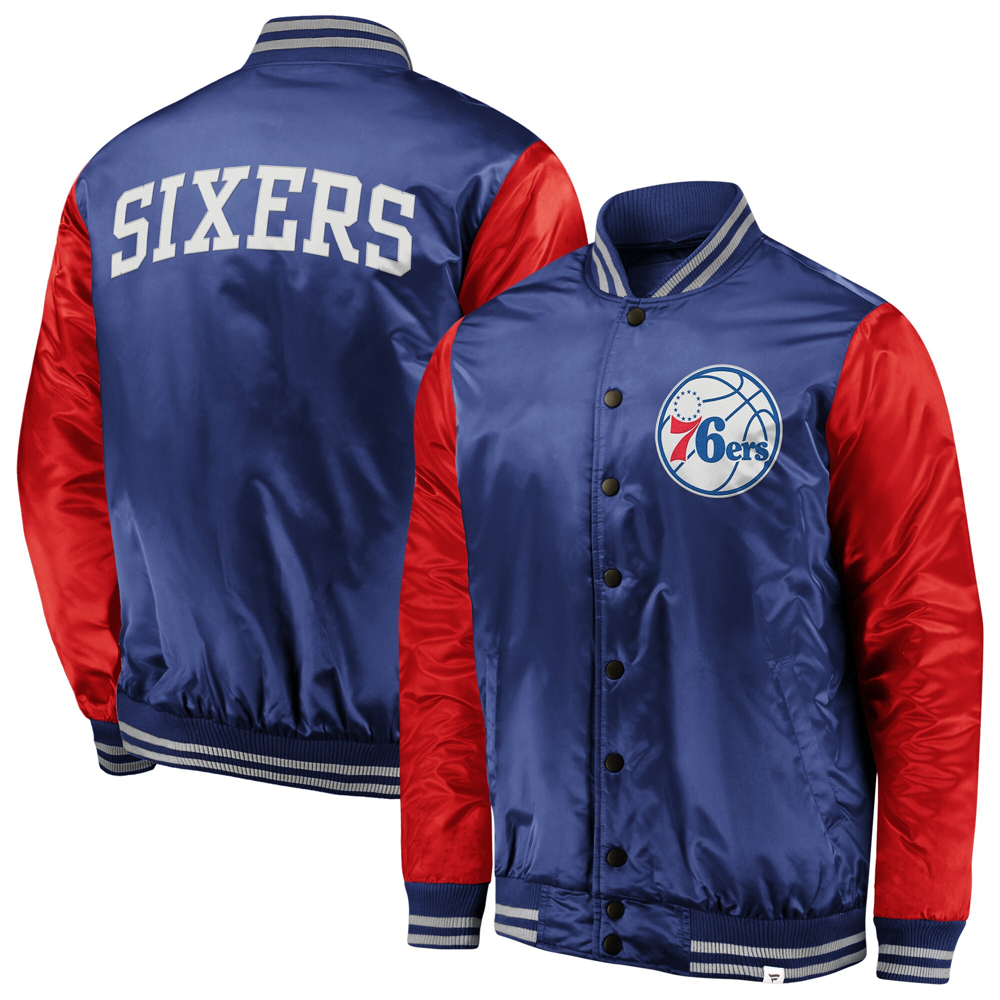 Philadelphia 76ers Fanatics Branded Iconic Tackle Twill Satin Jacket - Royal/Red
