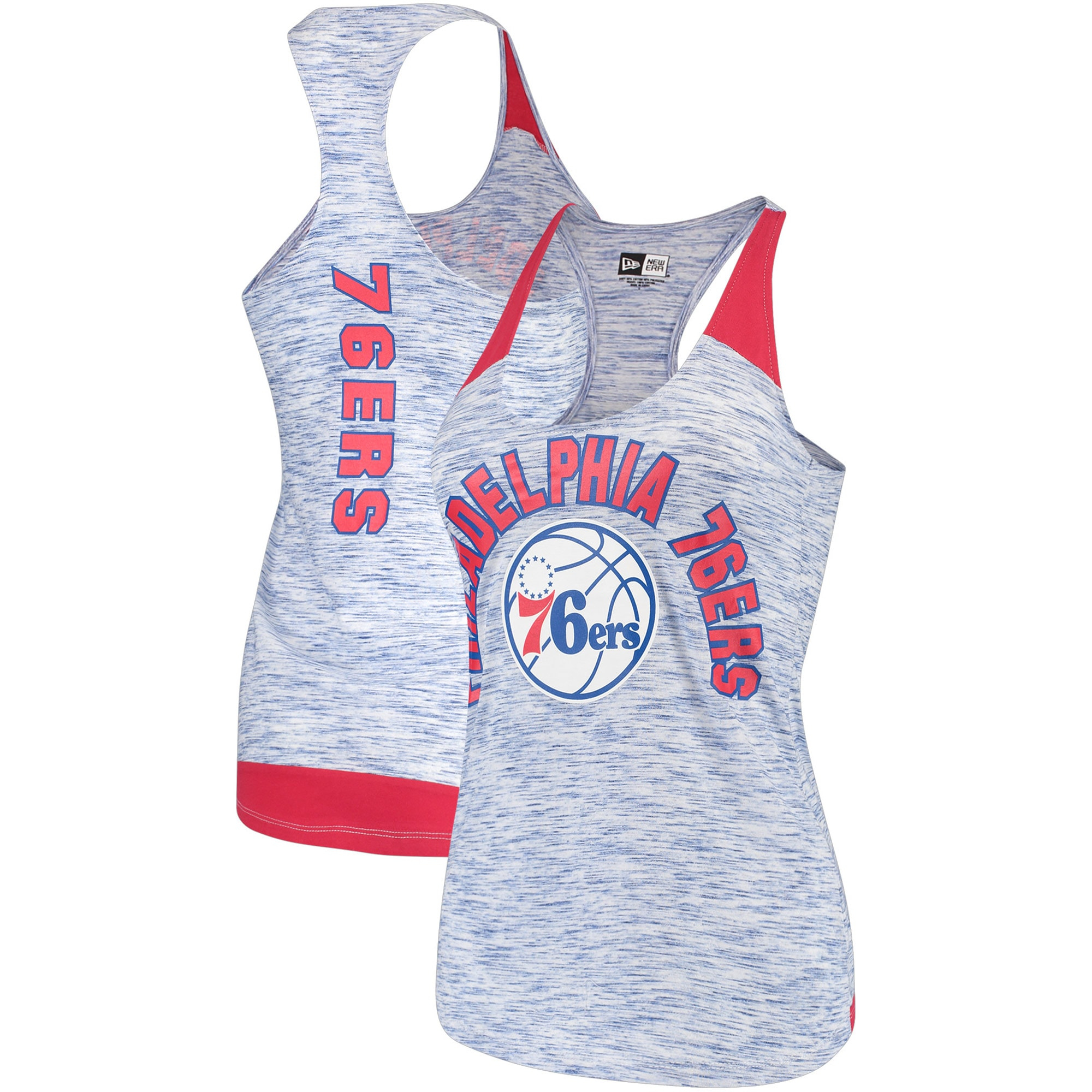 Philadelphia 76ers New Era Women's Space Dye Racer Back Tank Top - Royal/Red