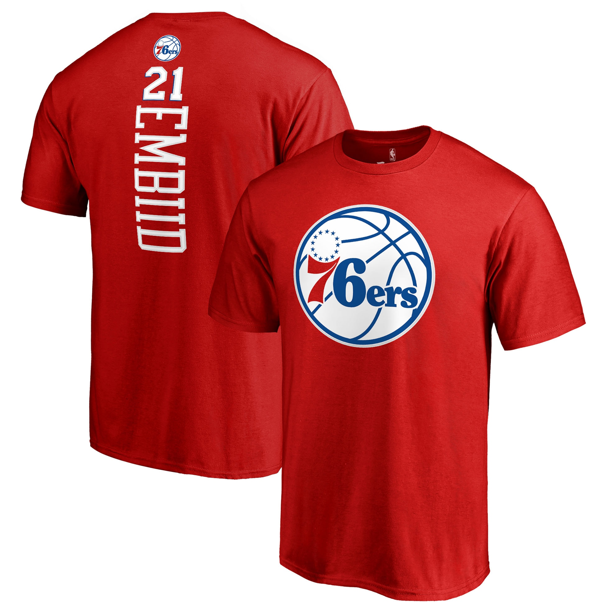 Joel Embiid Philadelphia 76ers Fanatics Branded Team Backer Name & Number T-Shirt - Red