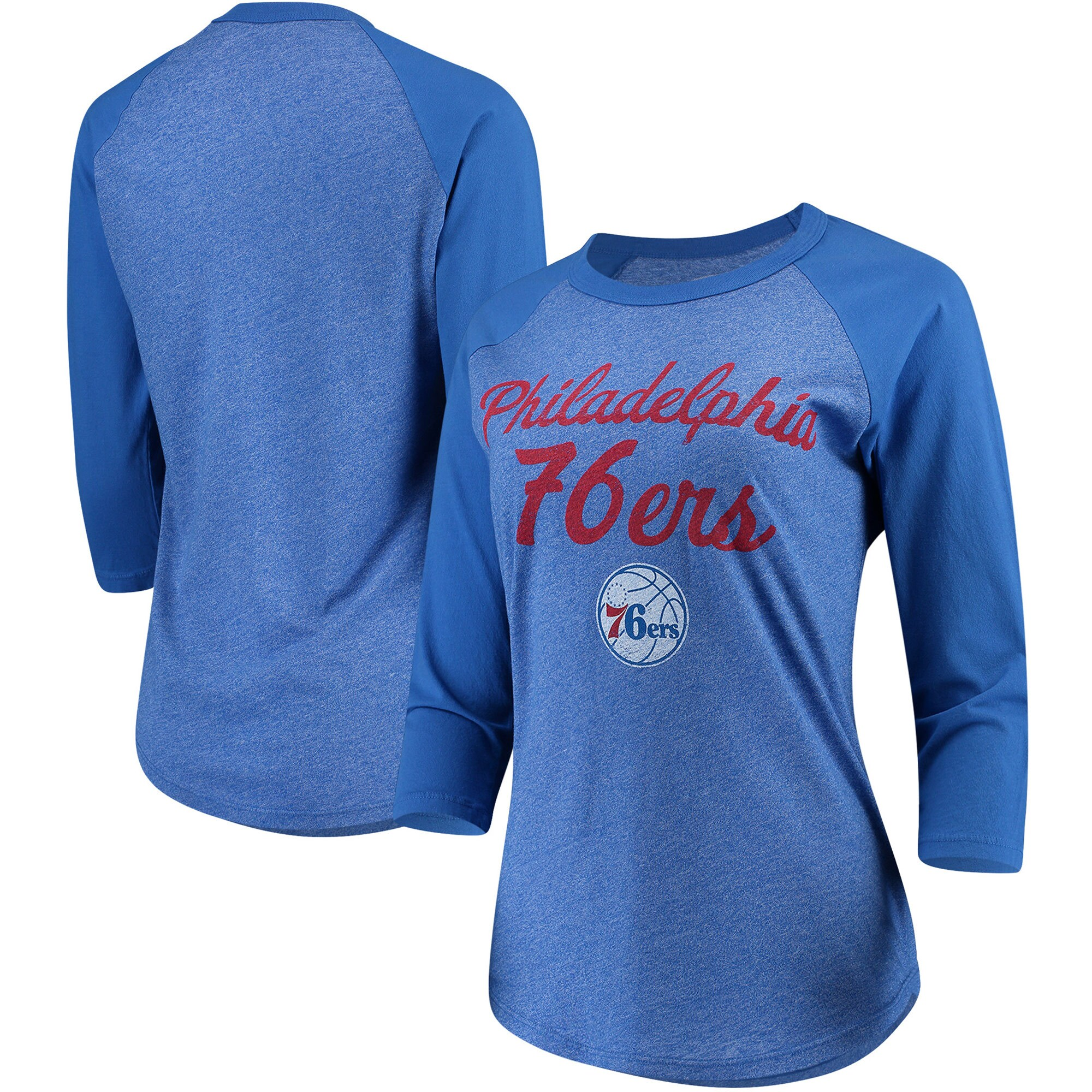 Philadelphia 76ers Majestic Threads Women's Double Dribble Raglan Tri-Blend 3/4-Sleeve T-Shirt - Heathered Royal/Royal