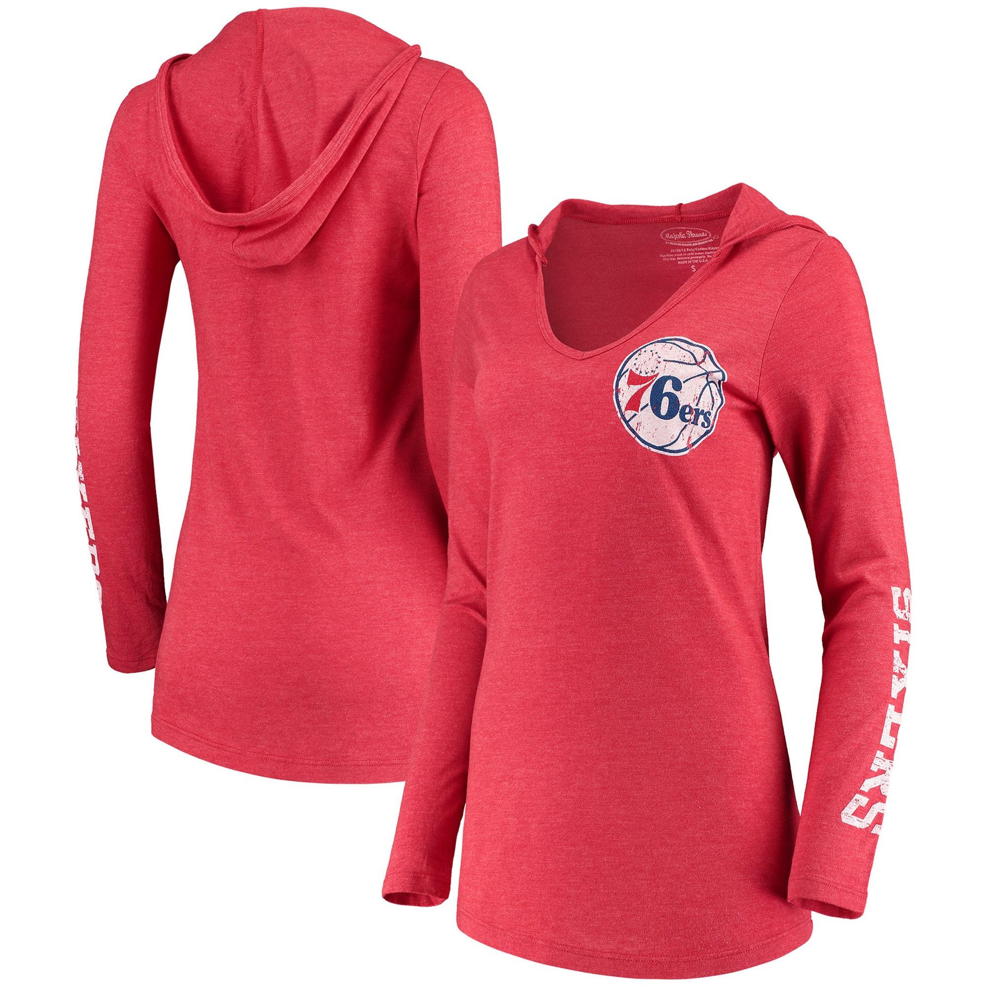 Philadelphia 76ers Majestic Threads Women's Tri-Blend V-Neck Pullover Hoodie - Red