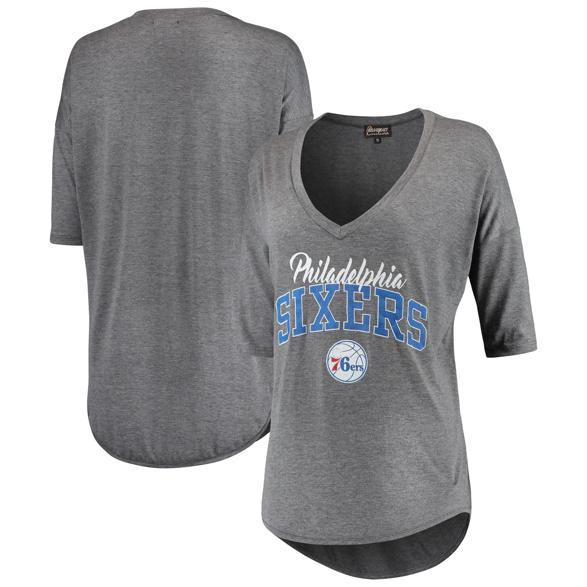Philadelphia 76ers Women's Deep V-Neck Tri-Blend Half-Sleeve T-Shirt - Gray