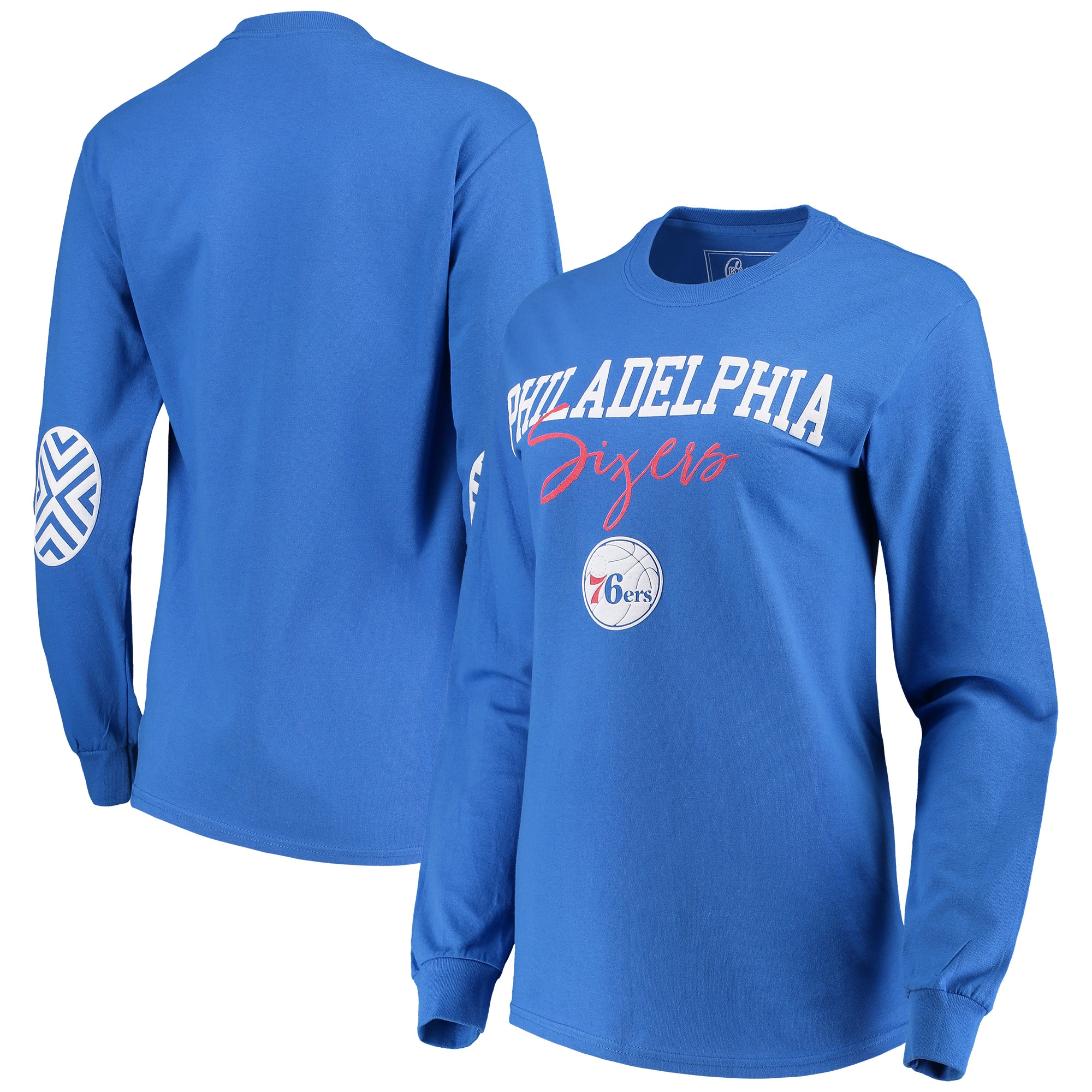 Philadelphia 76ers Women's Elbow Patch Long Sleeve T-Shirt - Royal