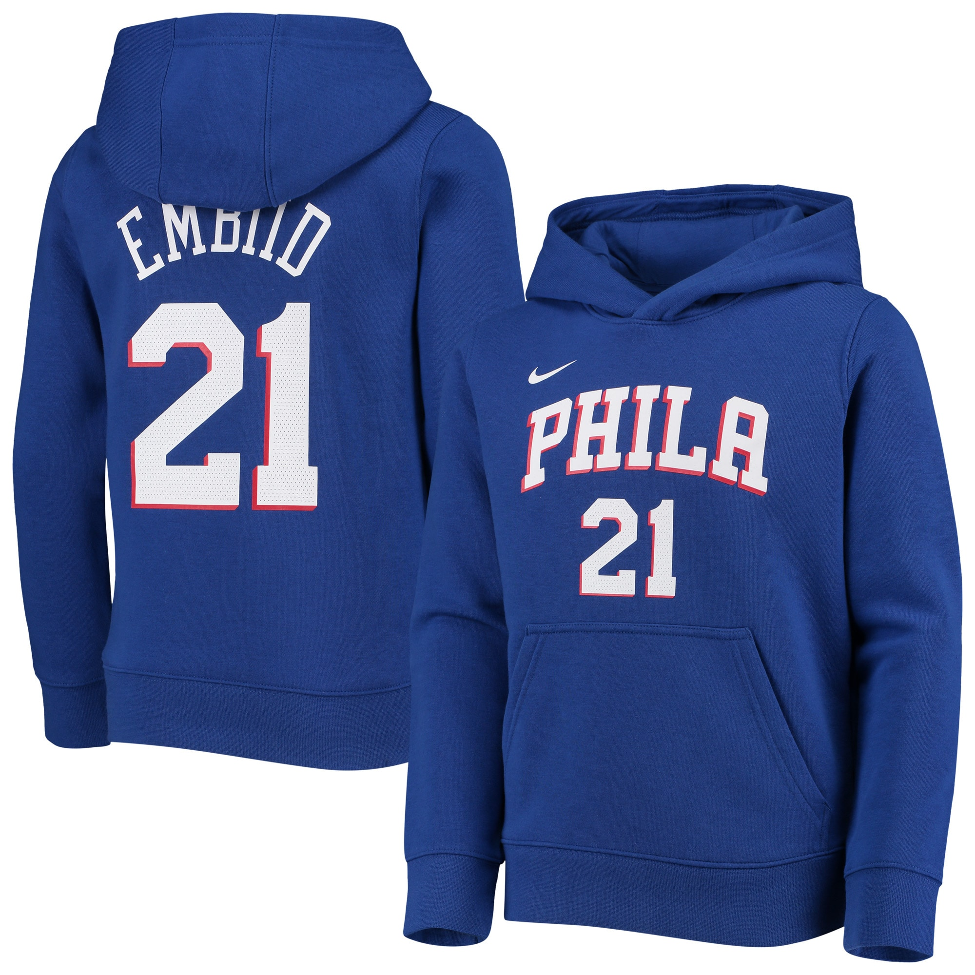 Joel Embiid Philadelphia 76ers Nike Youth Logo Name & Number Pullover Hoodie - Royal