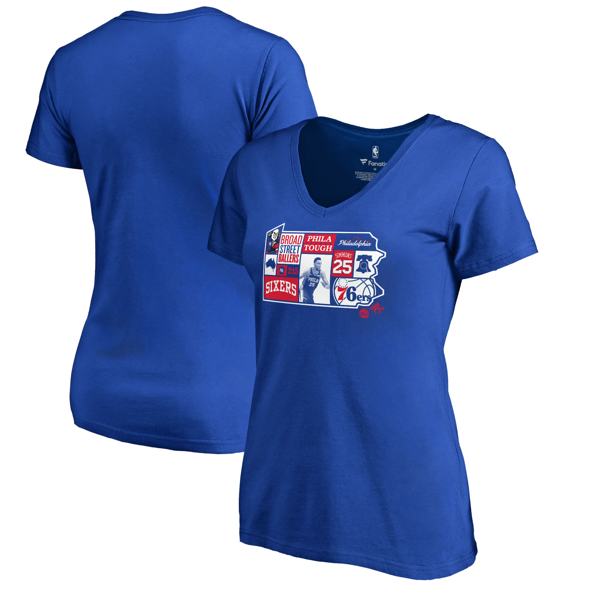 Ben Simmons Philadelphia 76ers Fanatics Branded Women's Player State V-Neck T-Shirt - Royal