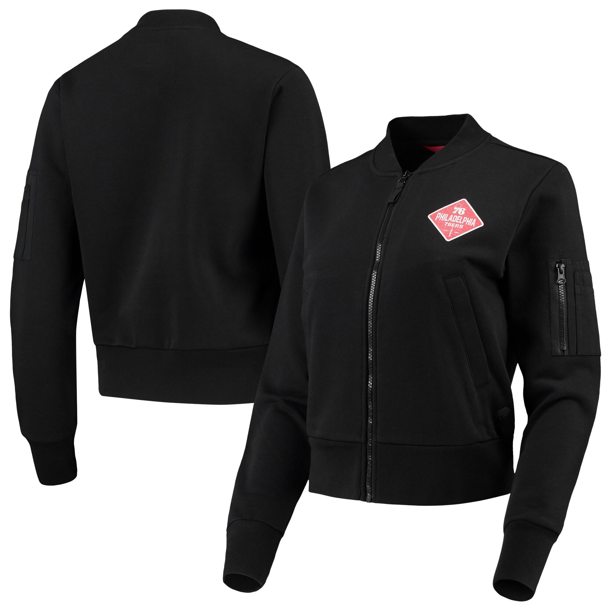 Philadelphia 76ers Sportiqe Women's Ice Bomber Full-Zip Jacket - Black