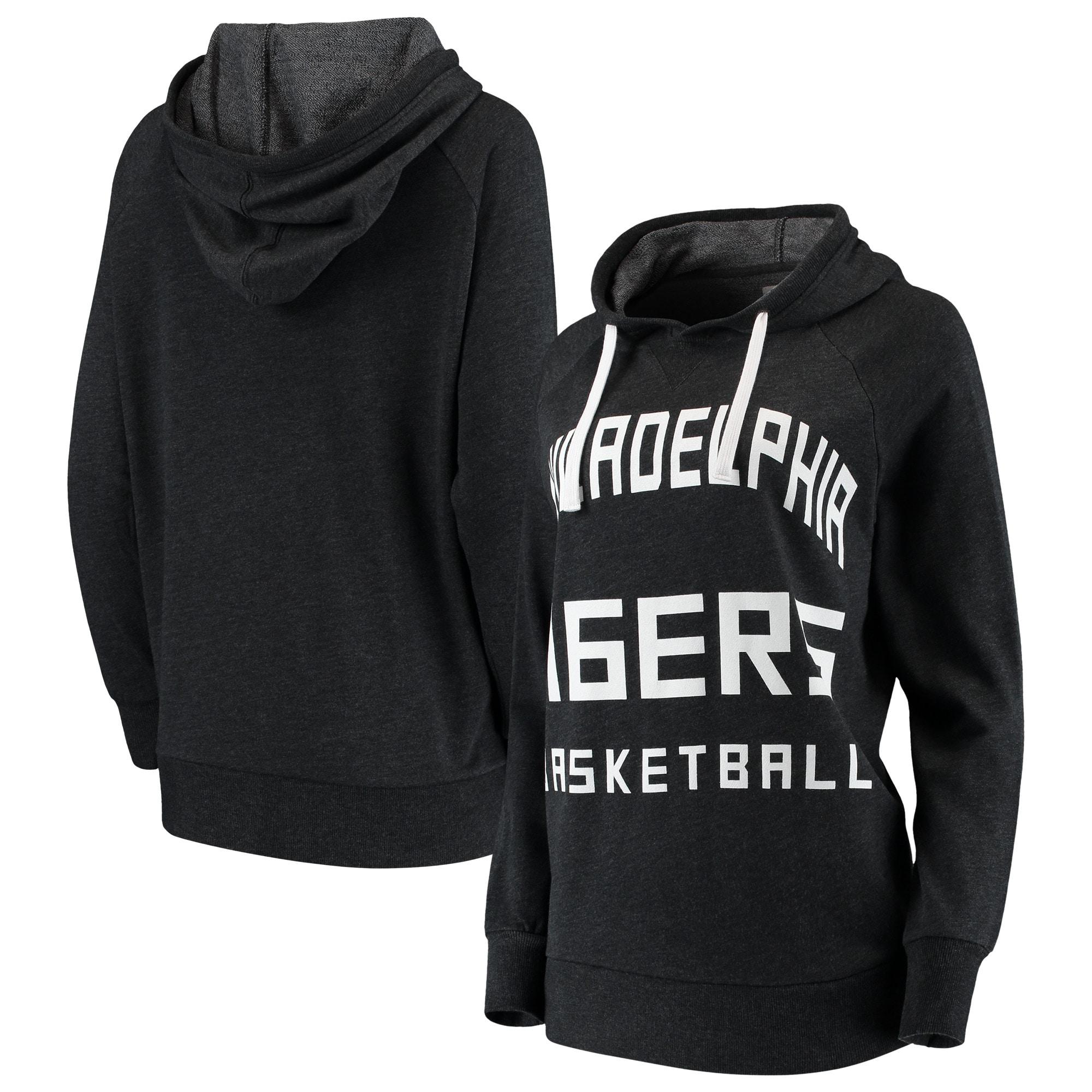 Philadelphia 76ers Sportiqe Women's Kylie French Terry Oversized Raglan Pullover Hoodie - Black