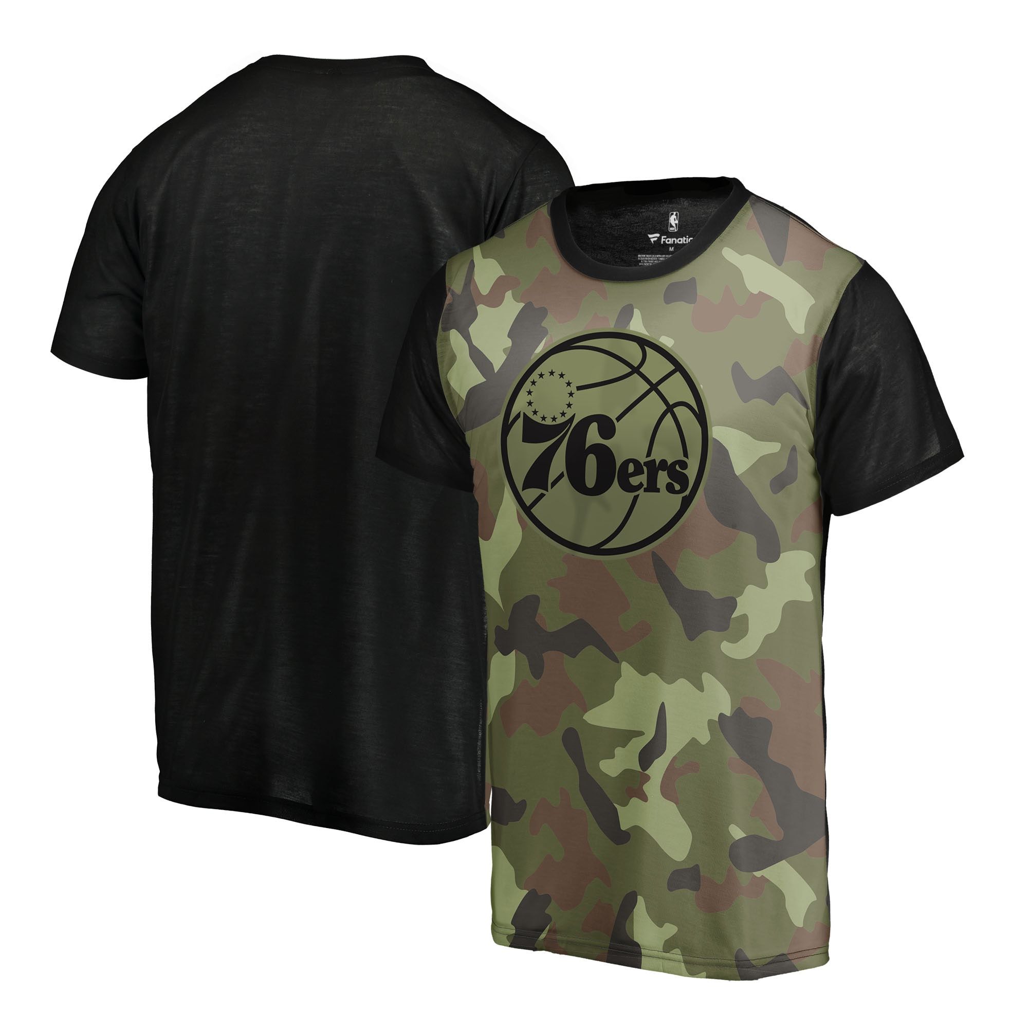 Philadelphia 76ers Fanatics Branded Camo Collection Blast Sublimated T-Shirt - Camo