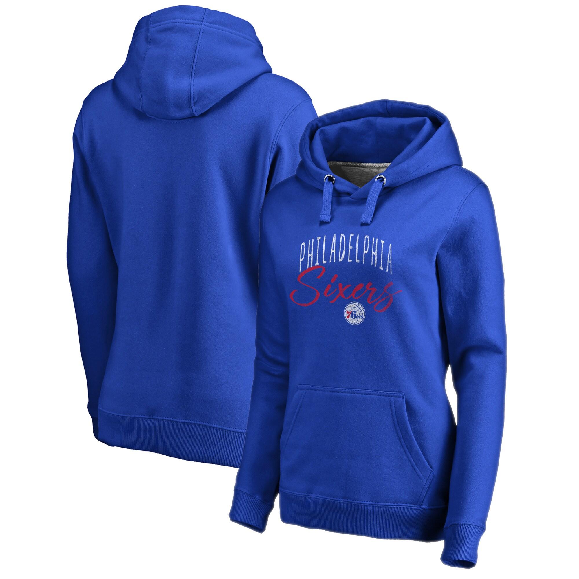 Philadelphia 76ers Fanatics Branded Women's Graceful Plus Size Pullover Hoodie - Royal
