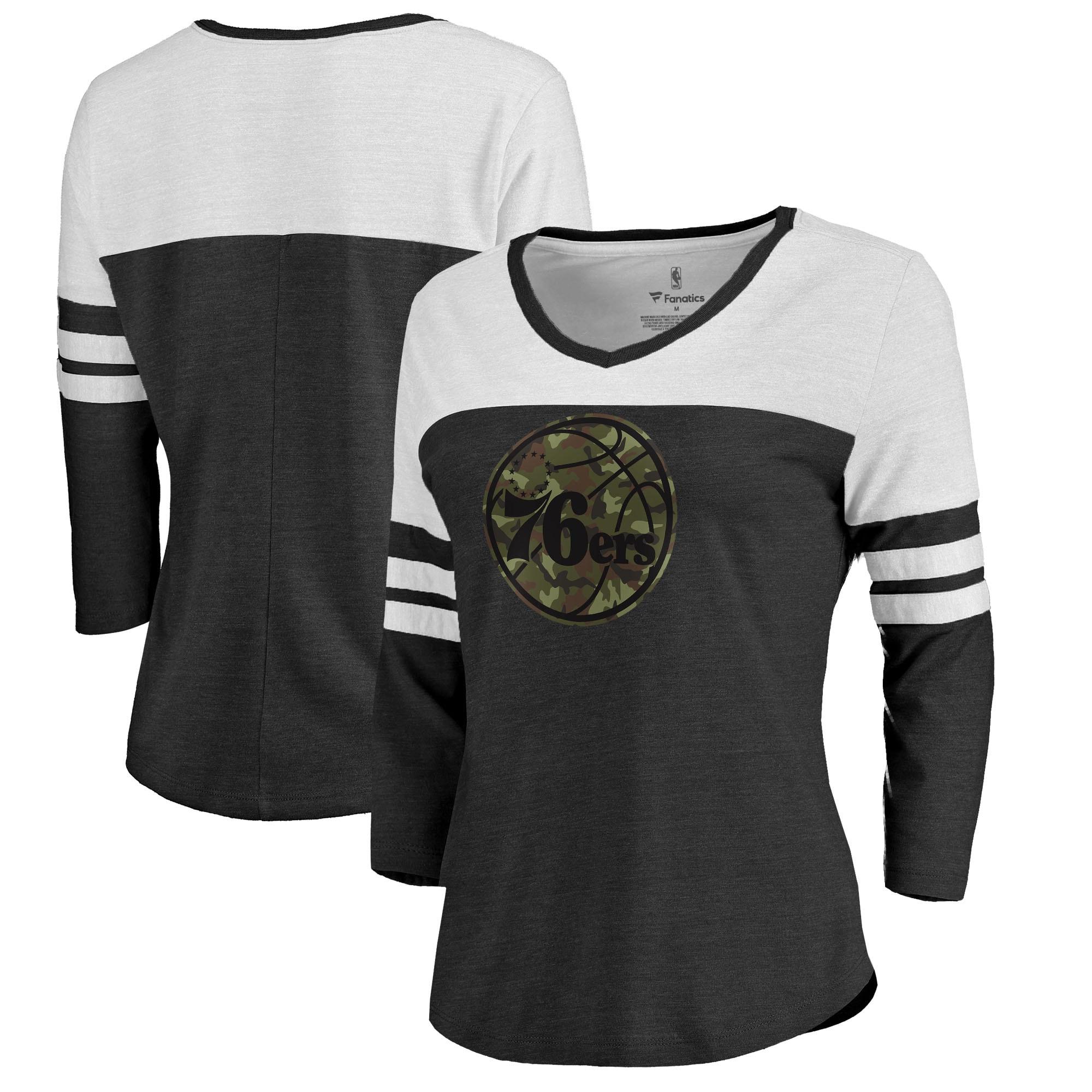 Philadelphia 76ers Fanatics Branded Women's Prestige Camo 3/4-Sleeve Raglan T-Shirt - Black