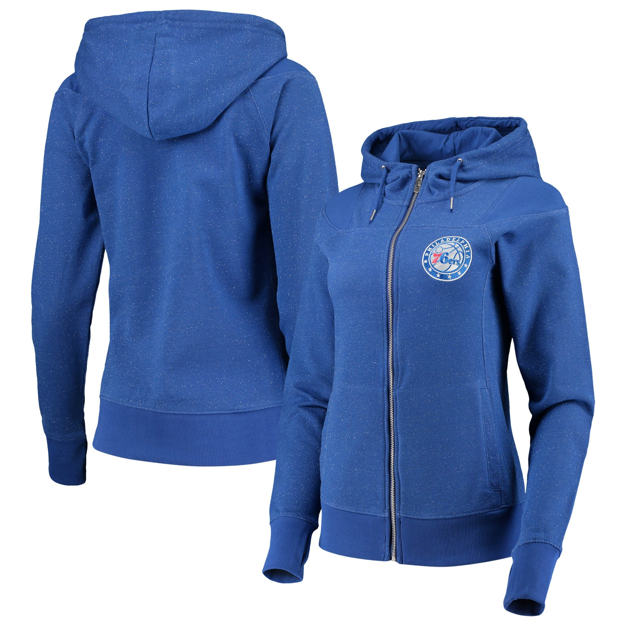 Philadelphia 76ers Antigua Women's Lineup Tri-Blend French Terry Full-Zip Hoodie - Heathered Royal