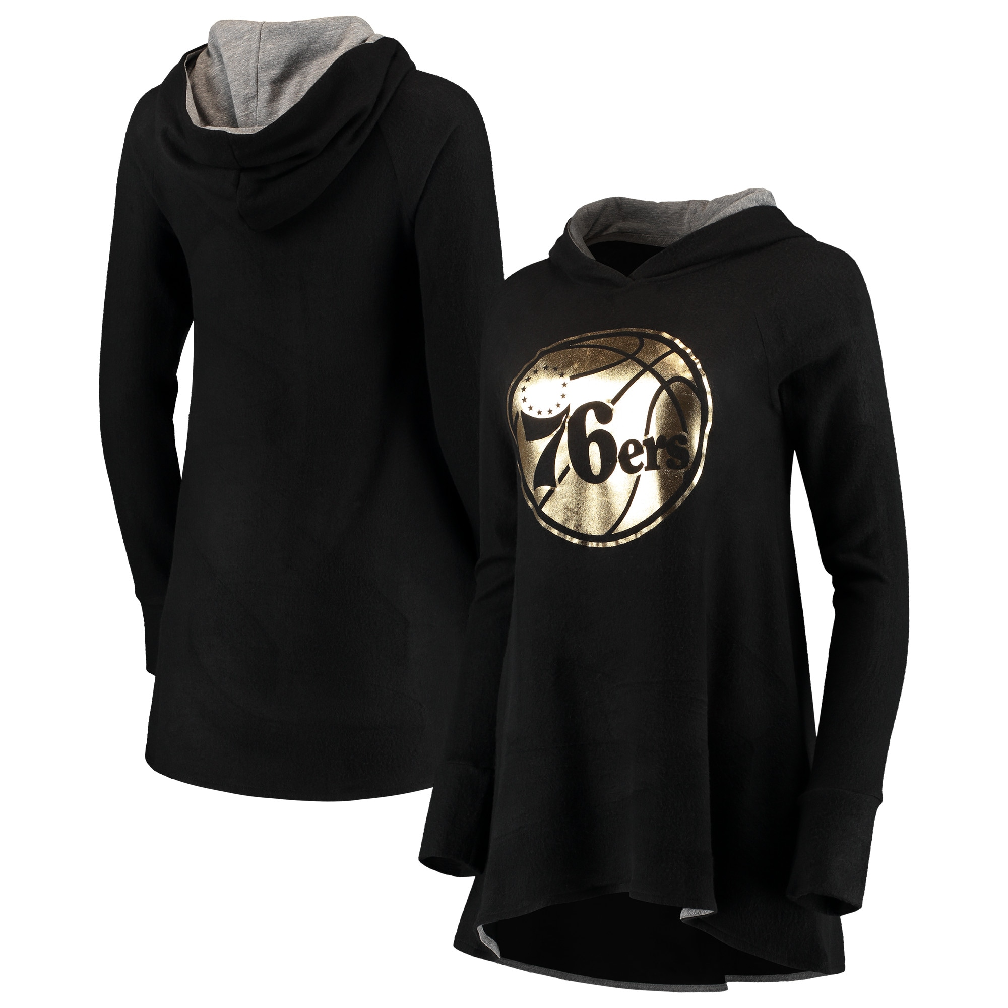 Philadelphia 76ers Majestic Threads Women's Gold Foil Brushed Hacci A-Line Pullover Hoodie - Black