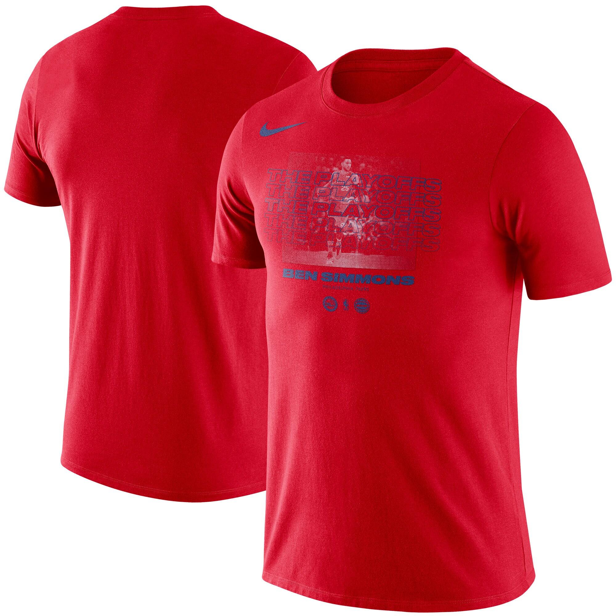 Ben Simmons Philadelphia 76ers Nike 2018 NBA Playoffs Name & Number T-Shirt - Red