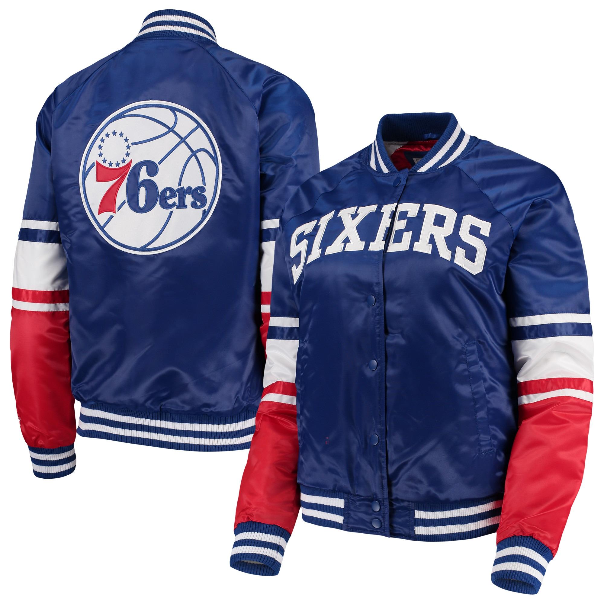 Philadelphia 76ers Starter Women's Victory Satin Full-Snap Jacket - Royal/Red