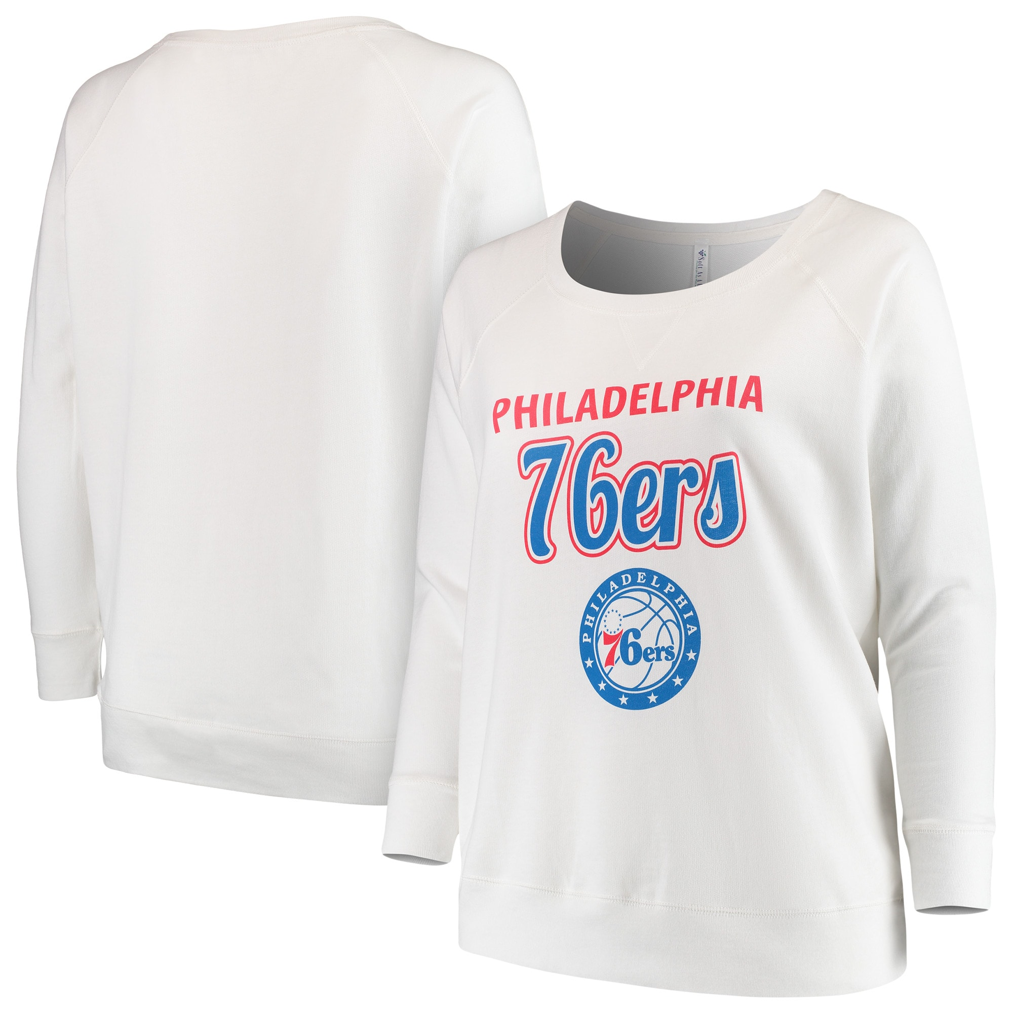 Philadelphia 76ers Soft as a Grape Women's Curvy French Terry Slouch Crew Neck Sweatshirt - White