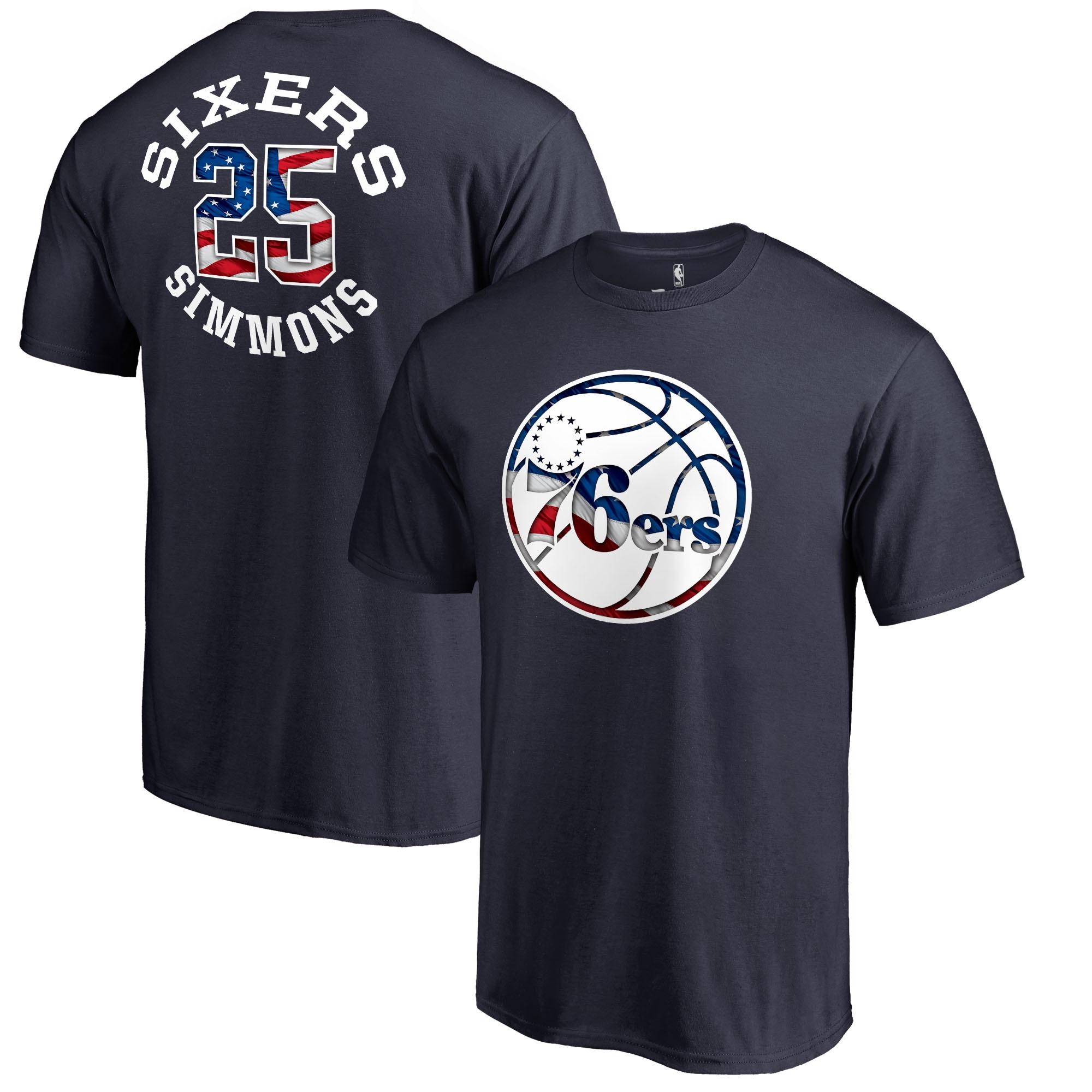 Ben Simmons Philadelphia 76ers Fanatics Branded Banner Wave Name & Number T-Shirt - Navy
