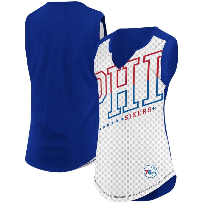 Philadelphia 76ers Majestic Women's Relevant Play Sleeveless T-Shirt - White/Royal