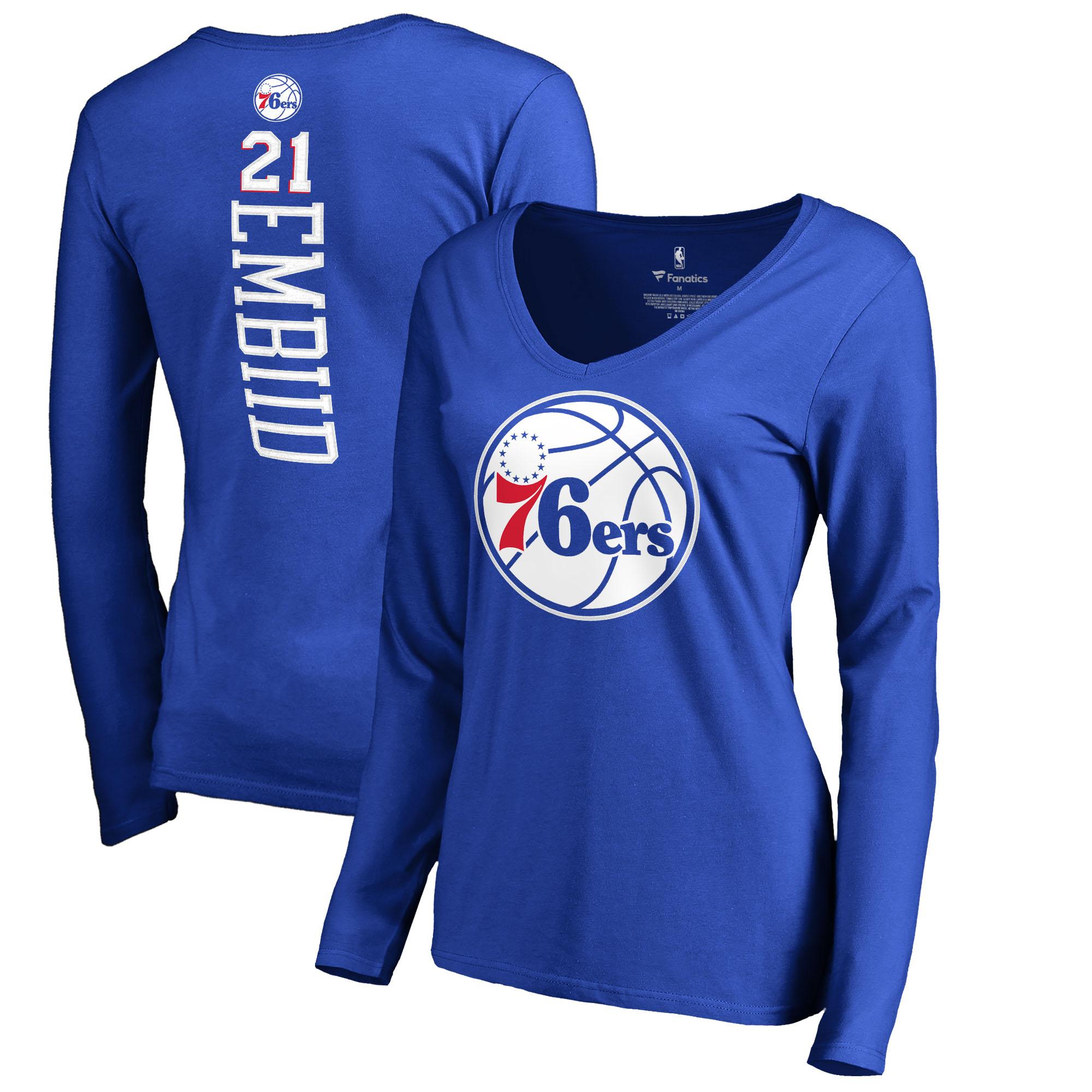 Joel Embiid Philadelphia 76ers Fanatics Branded Women's Backer Name & Number Long Sleeve V-Neck T-Shirt - Royal