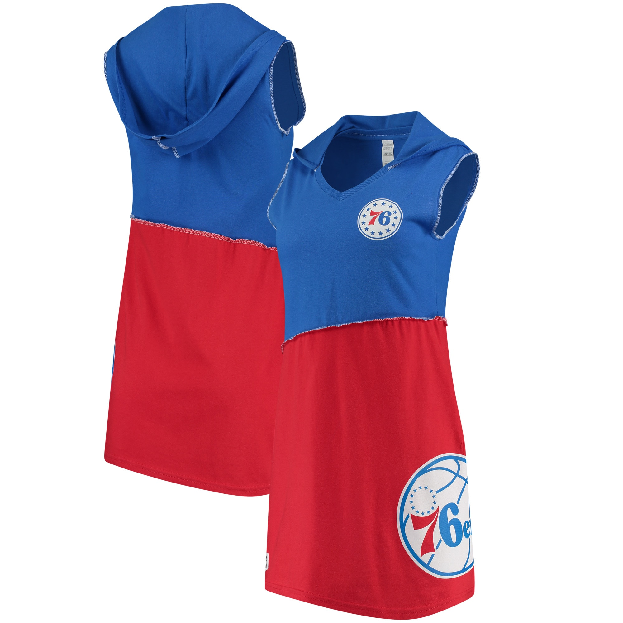 Philadelphia 76ers Refried Tees Women's Hooded Sleeveless Dress - Royal/Red