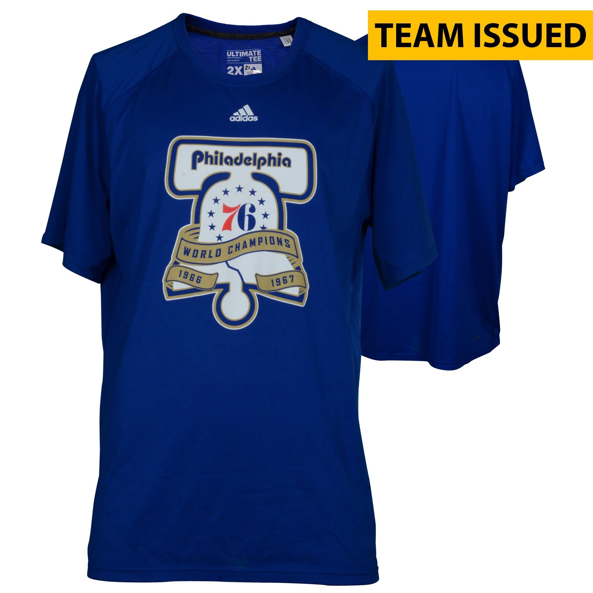 Philadelphia 76ers Fanatics Authentic Team-Issued Blue Liberty Bell Champions Shooter Shirt from the 2016-17 NBA Season - Size Large