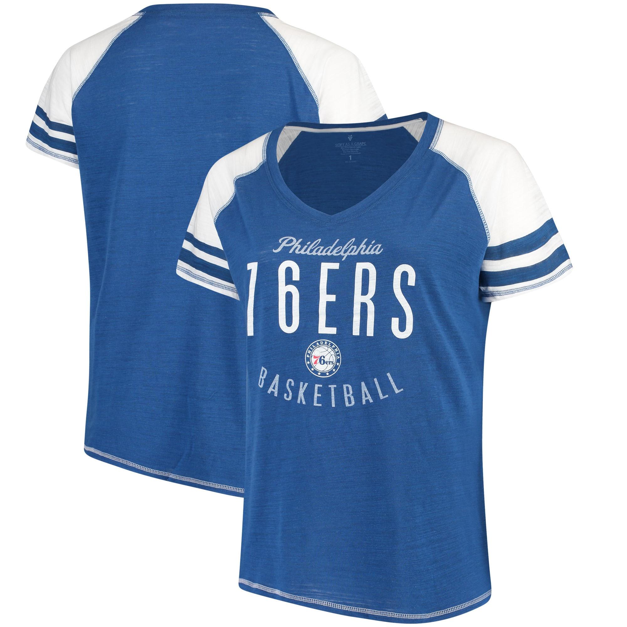 Philadelphia 76ers Soft as a Grape Women's Plus Size Color Blocked Raglan Tri-Blend V-Neck T-Shirt - Royal