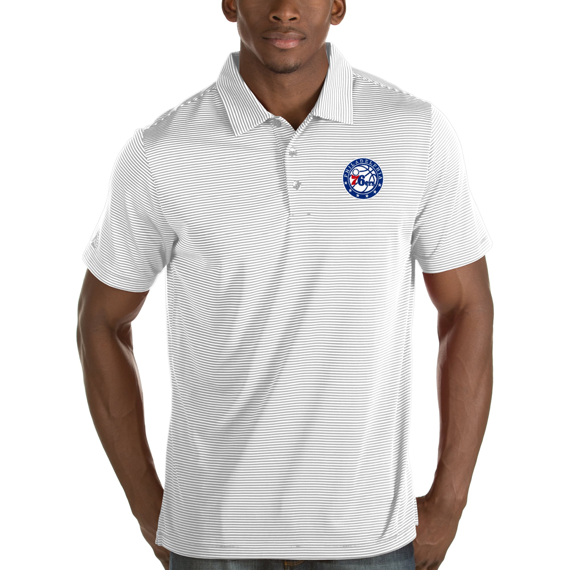 Philadelphia 76ers Antigua Quest Polo - White