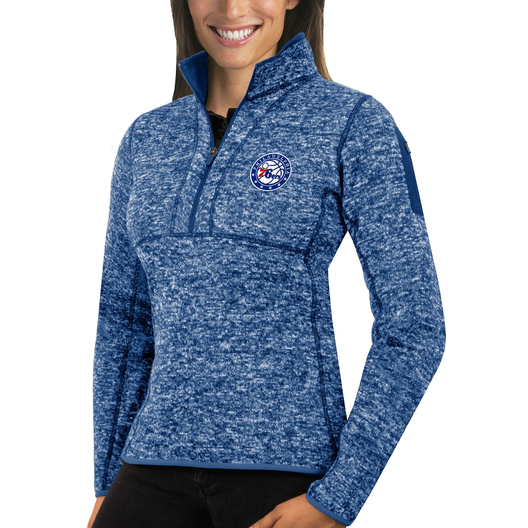 Philadelphia 76ers Antigua Women's Fortune Half-Zip Pullover Jacket - Heather Royal