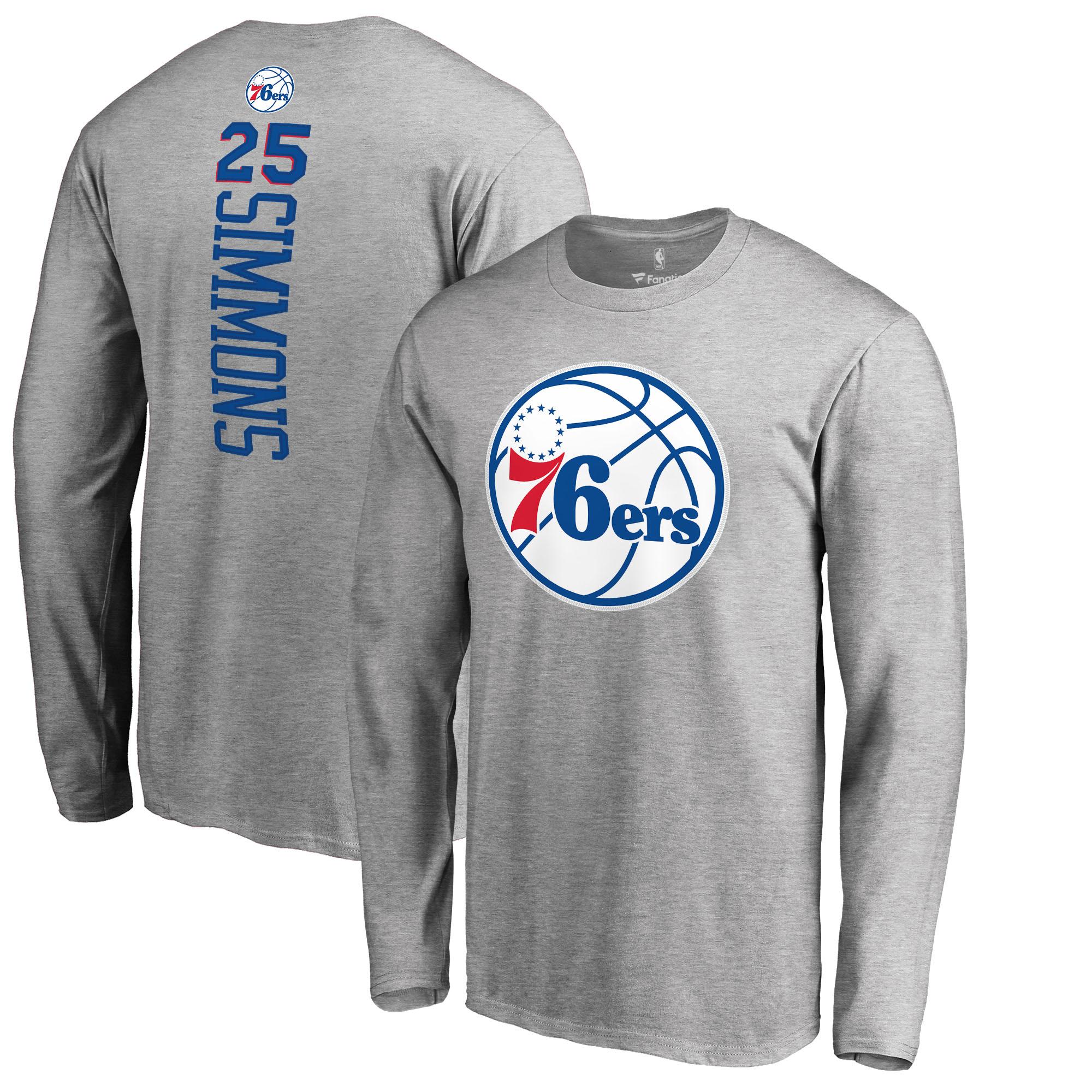 Ben Simmons Philadelphia 76ers Fanatics Branded Backer Big & Tall Long Sleeve T-Shirt - Gray
