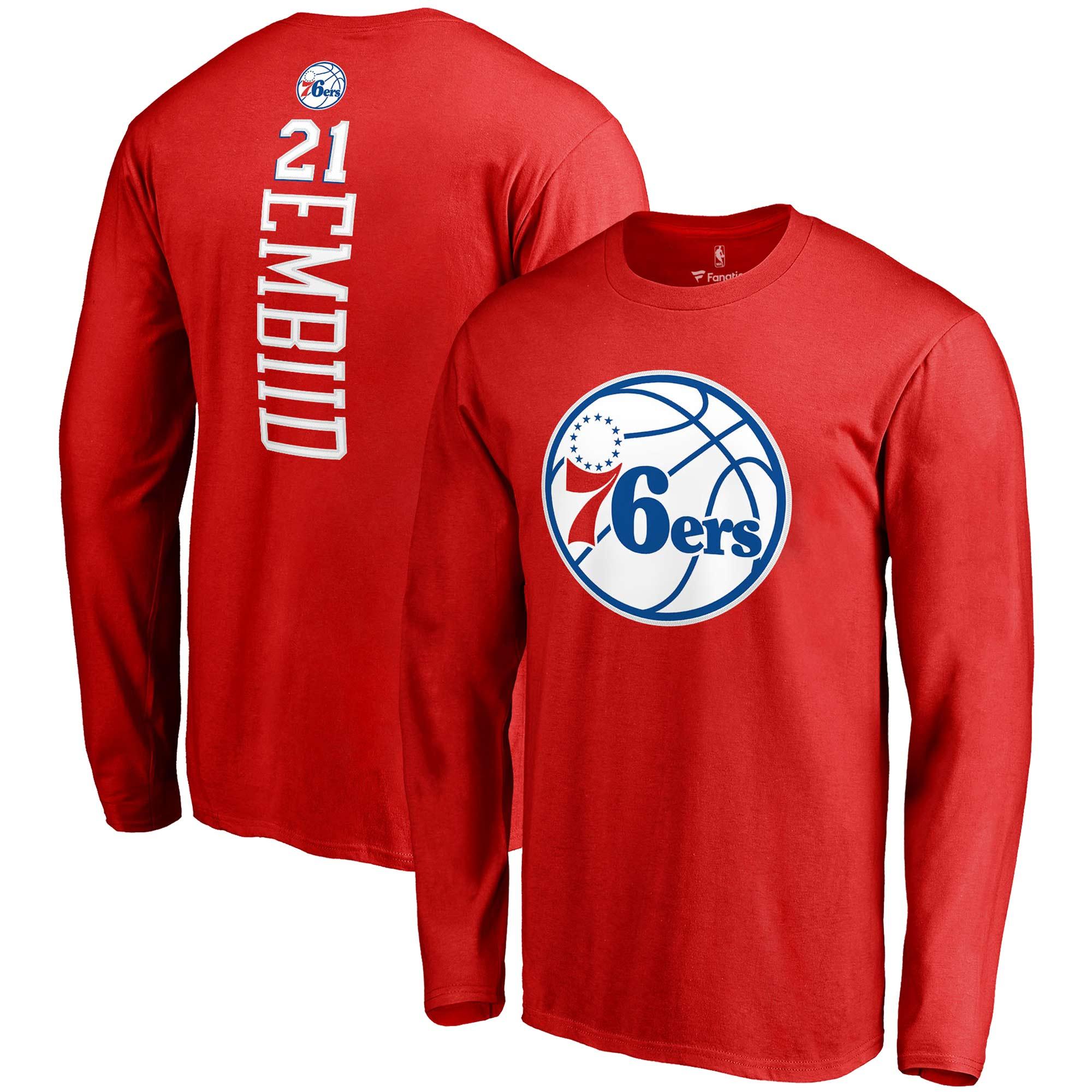 Joel Embiid Philadelphia 76ers Fanatics Branded Backer Name & Number Long Sleeve T-Shirt - Red