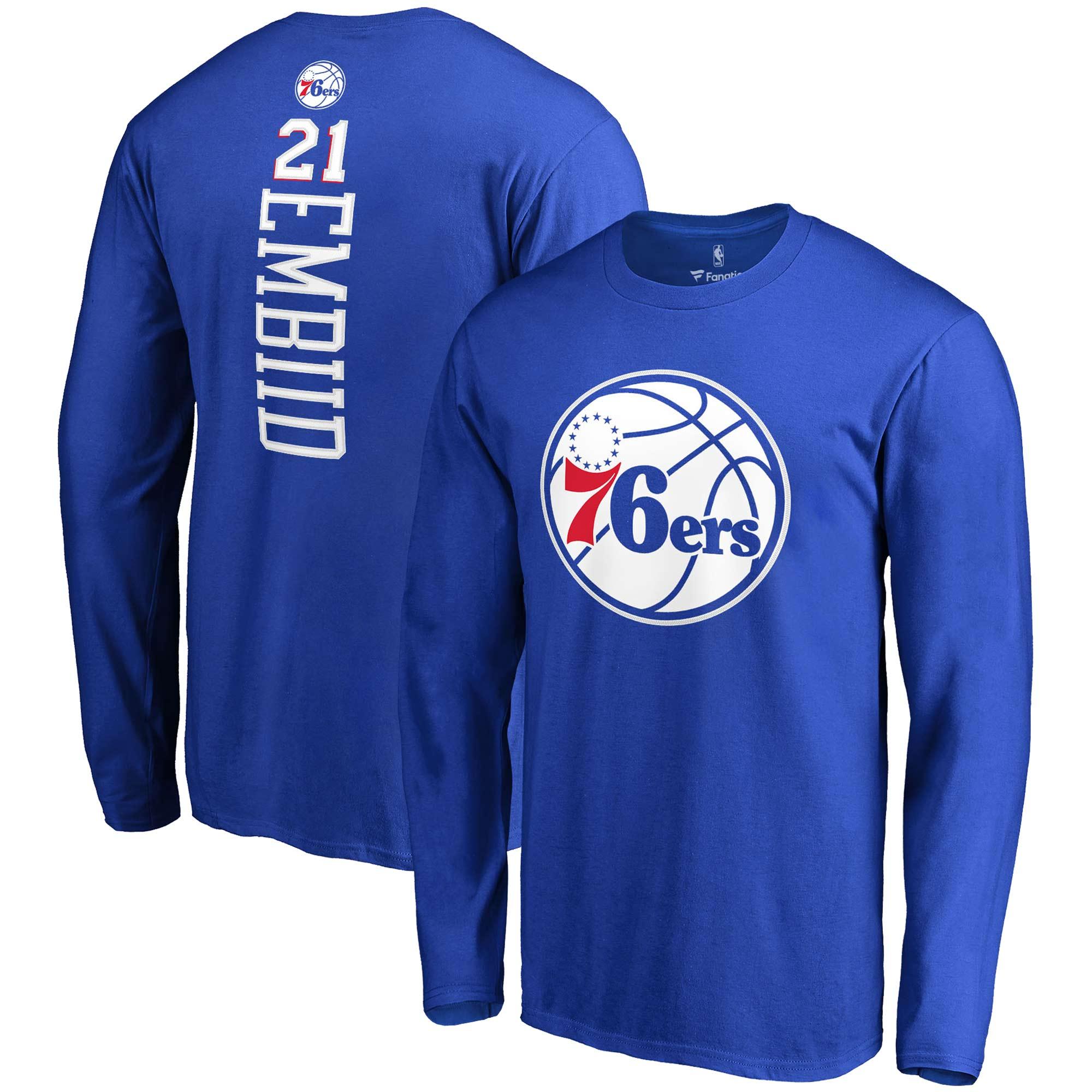 Joel Embiid Philadelphia 76ers Fanatics Branded Backer Name & Number Long Sleeve T-Shirt - Royal