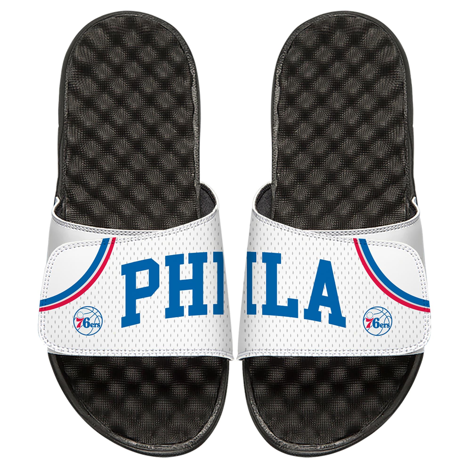 Philadelphia 76ers ISlide Home Jersey Split Slide Sandals - White