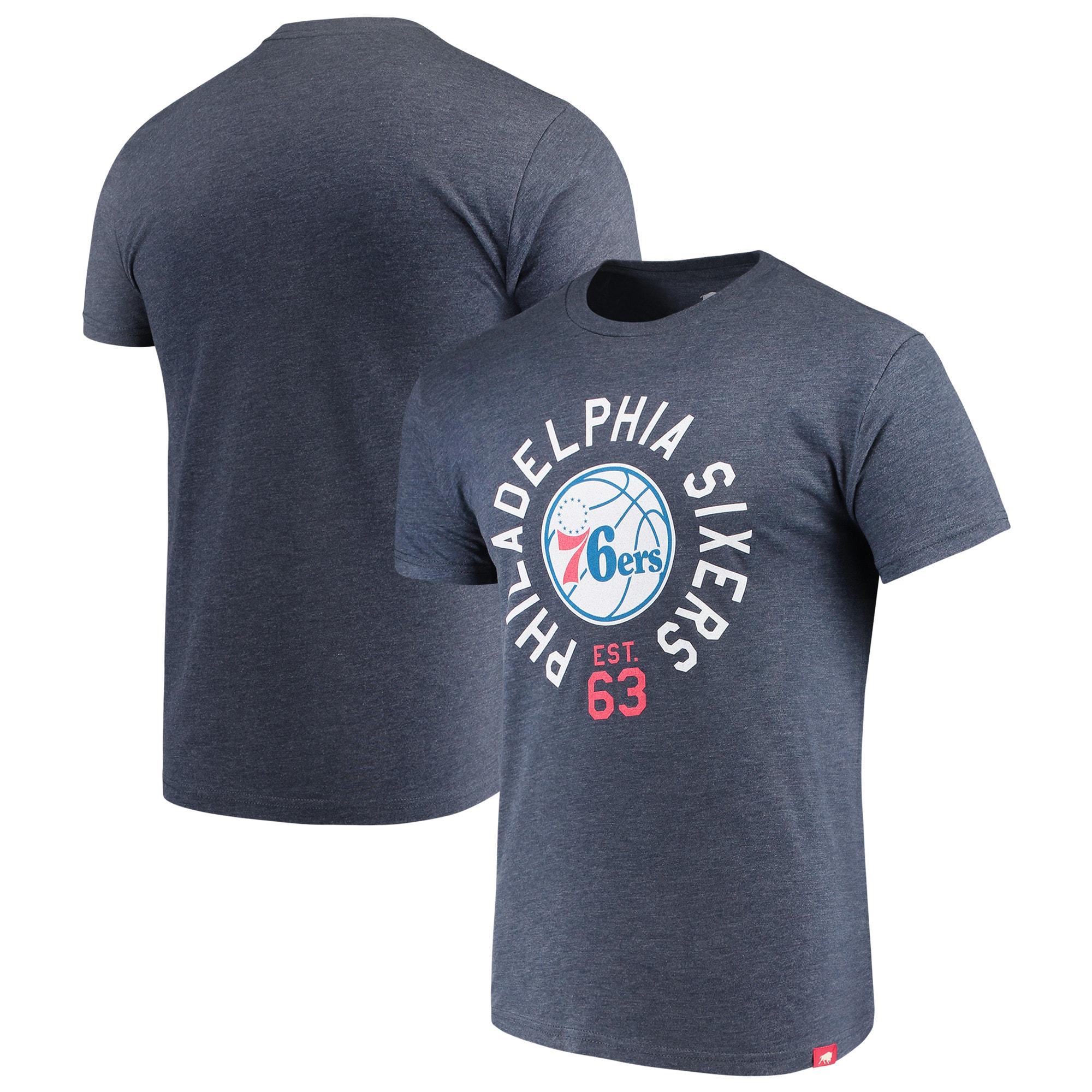 Philadelphia 76ers Sportiqe Comfy Super Soft Tri-Blend T-Shirt - Navy