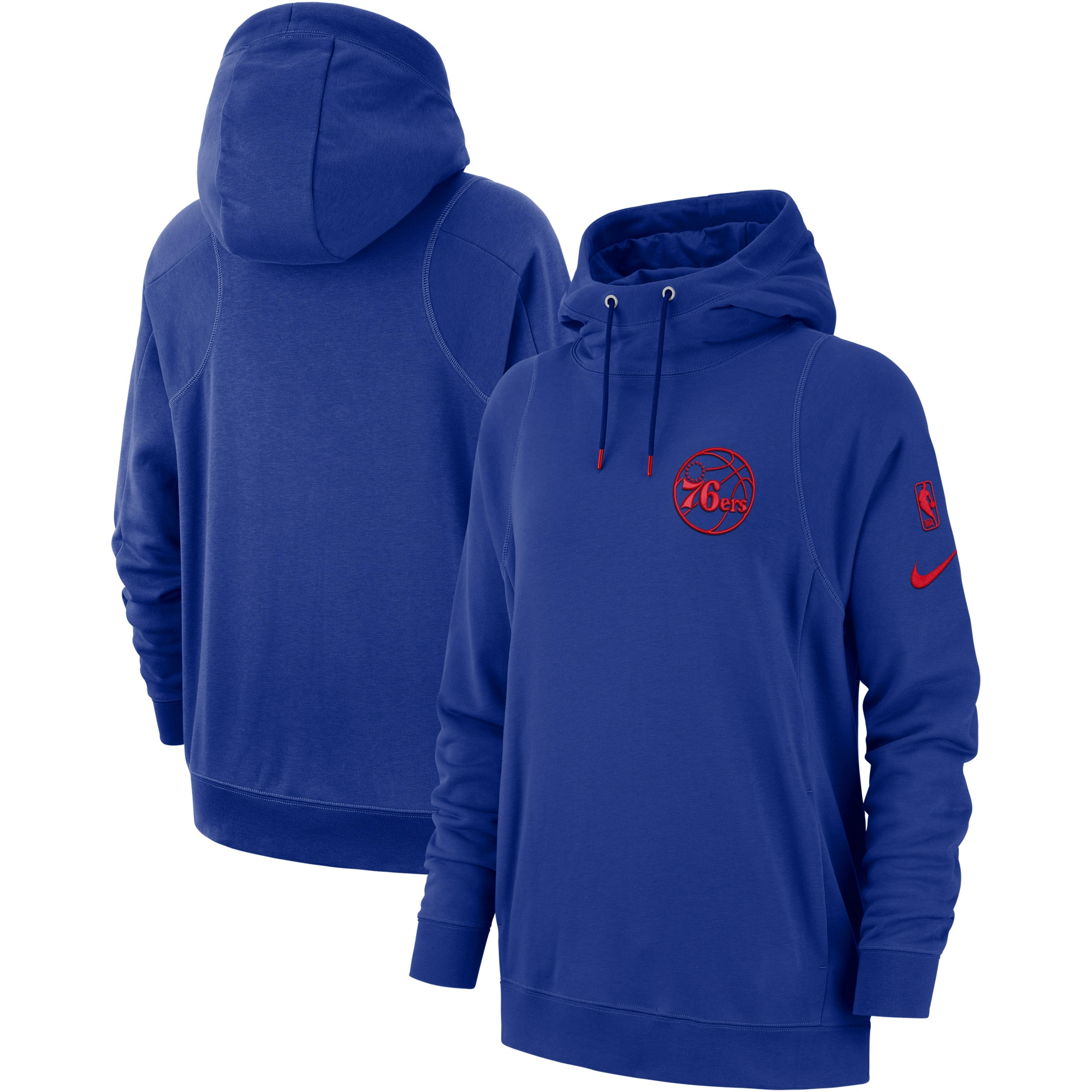 Philadelphia 76ers Nike Women's Courtside French Terry Pullover Hoodie - Royal