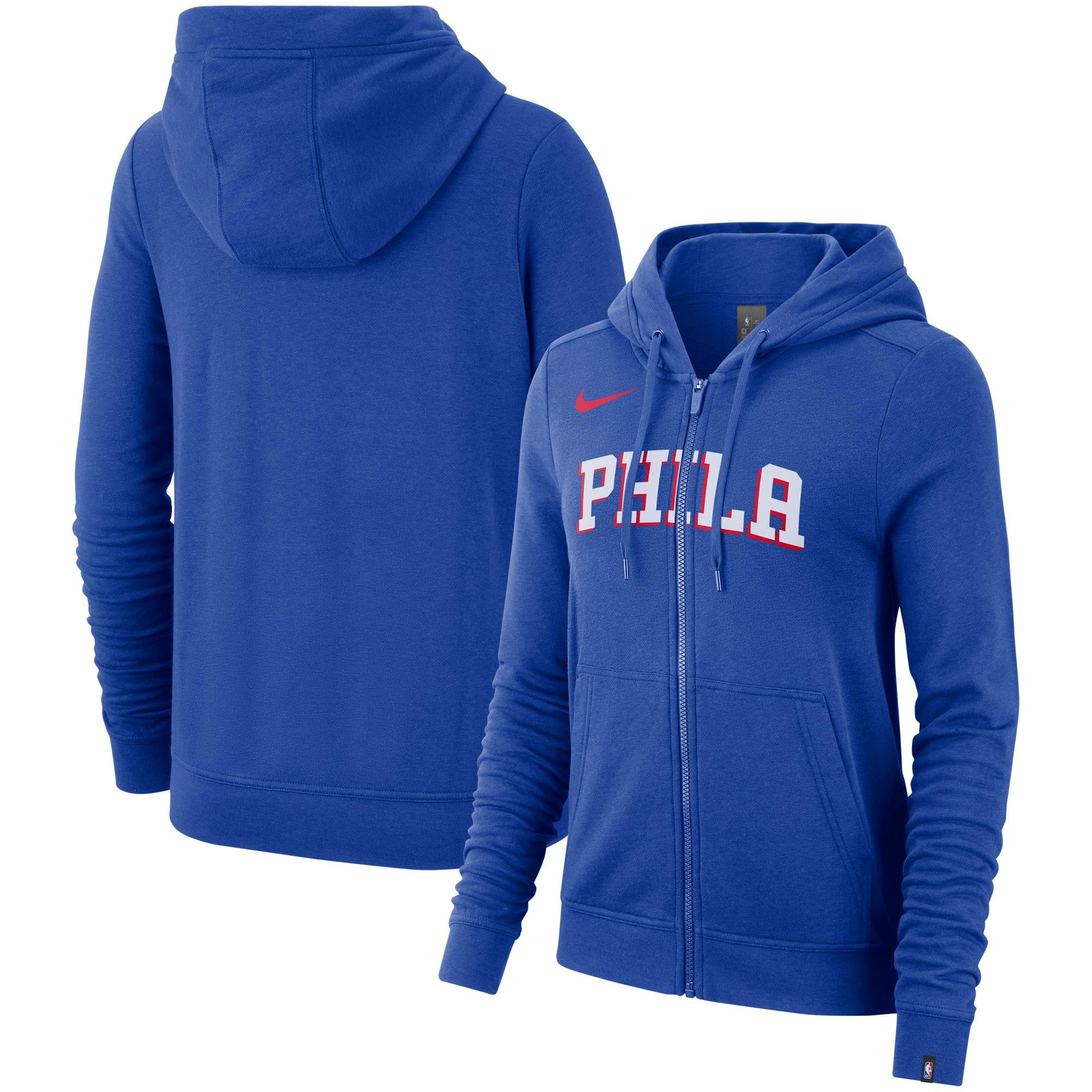 Philadelphia 76ers Nike Women's Essential Wordmark Full-Zip Hoodie - Royal
