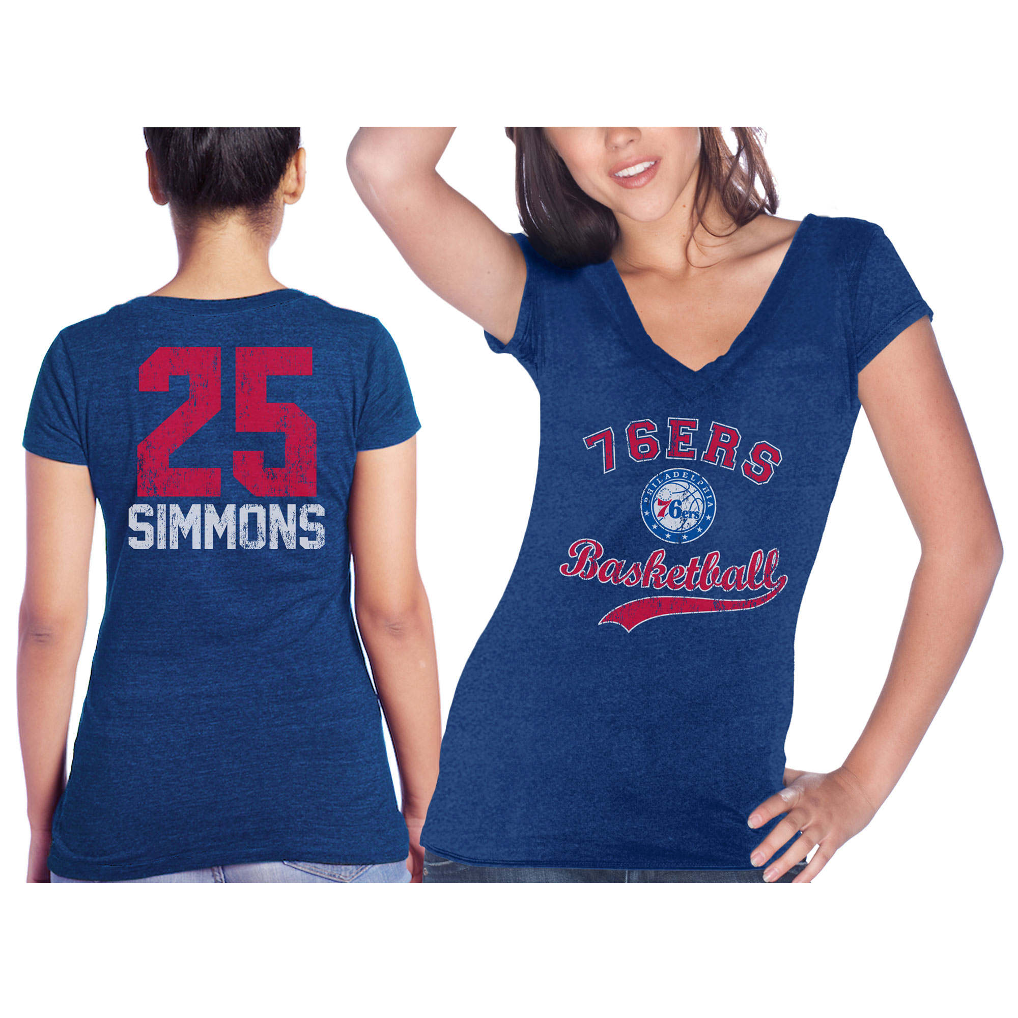 Ben Simmons Philadelphia 76ers Majestic Threads Women's Name & Number Tri-Blend V-Neck T-Shirt - Royal