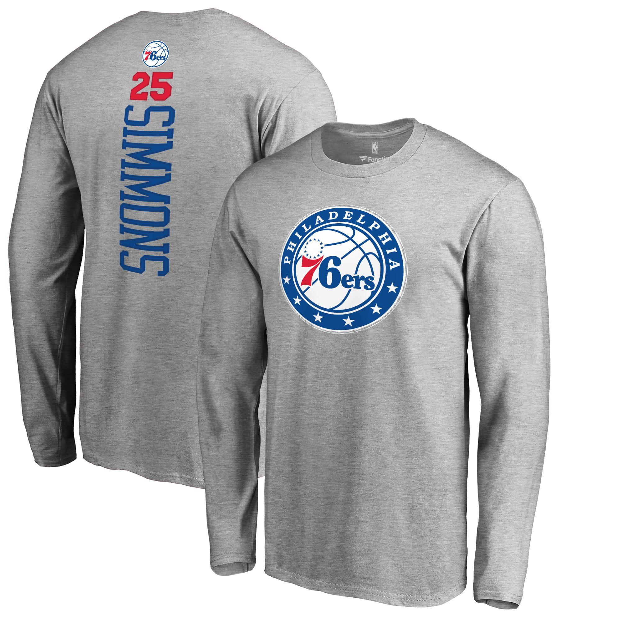 Ben Simmons Philadelphia 76ers Fanatics Branded Backer 3 Name & Number Long Sleeve T-Shirt - Heather Gray