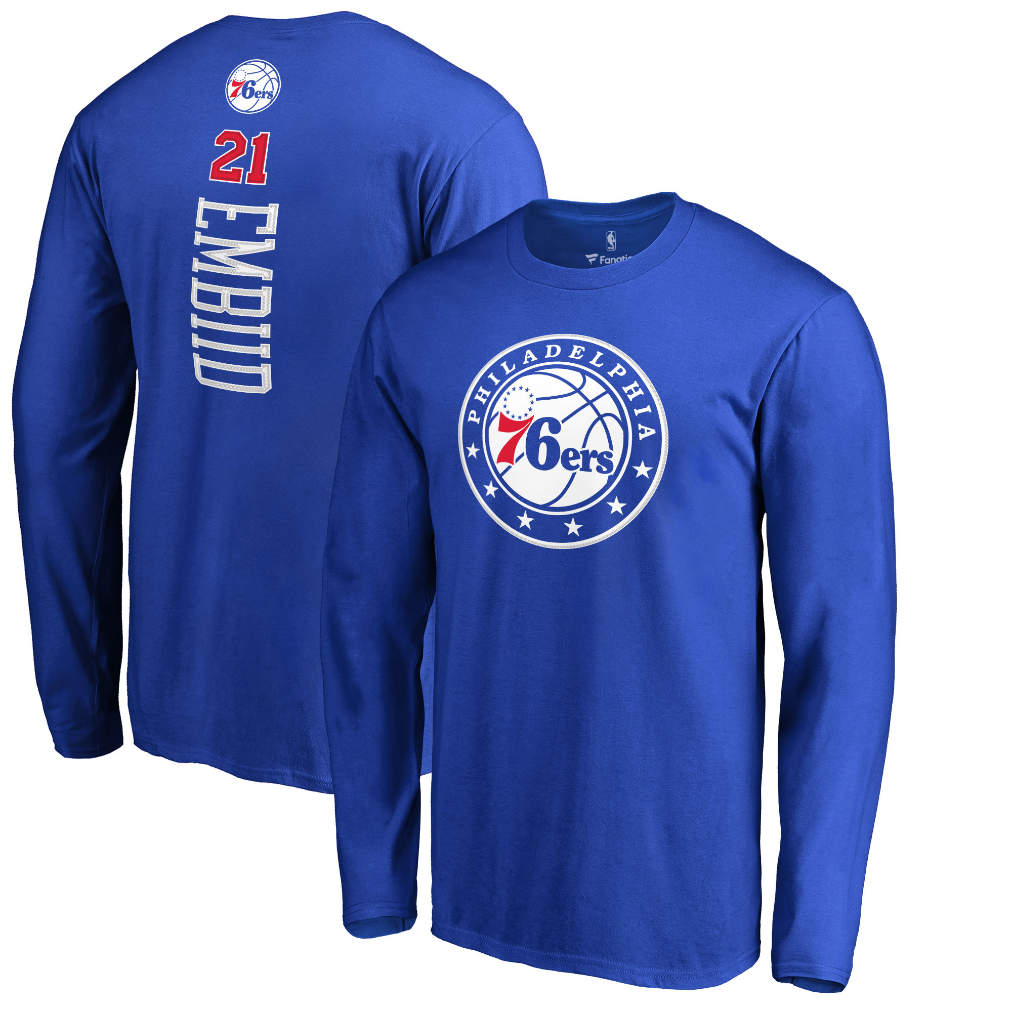 Joel Embiid Philadelphia 76ers Fanatics Branded Backer 3 Name & Number Long Sleeve T-Shirt - Royal