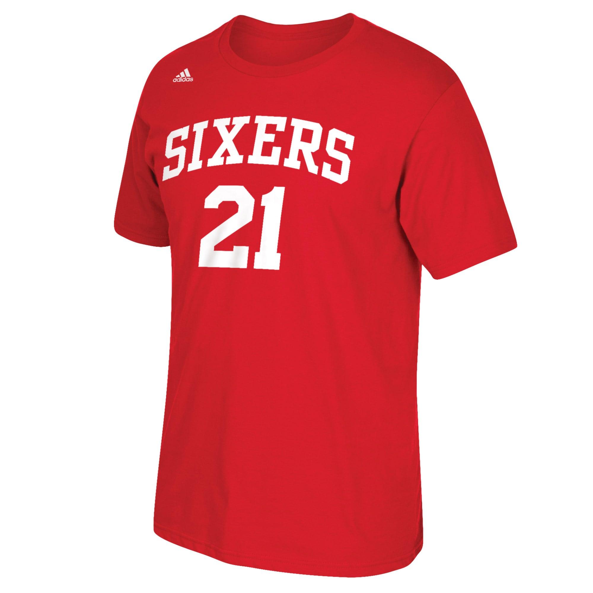Joel Embiid Philadelphia 76ers adidas Net Number T-Shirt - Red