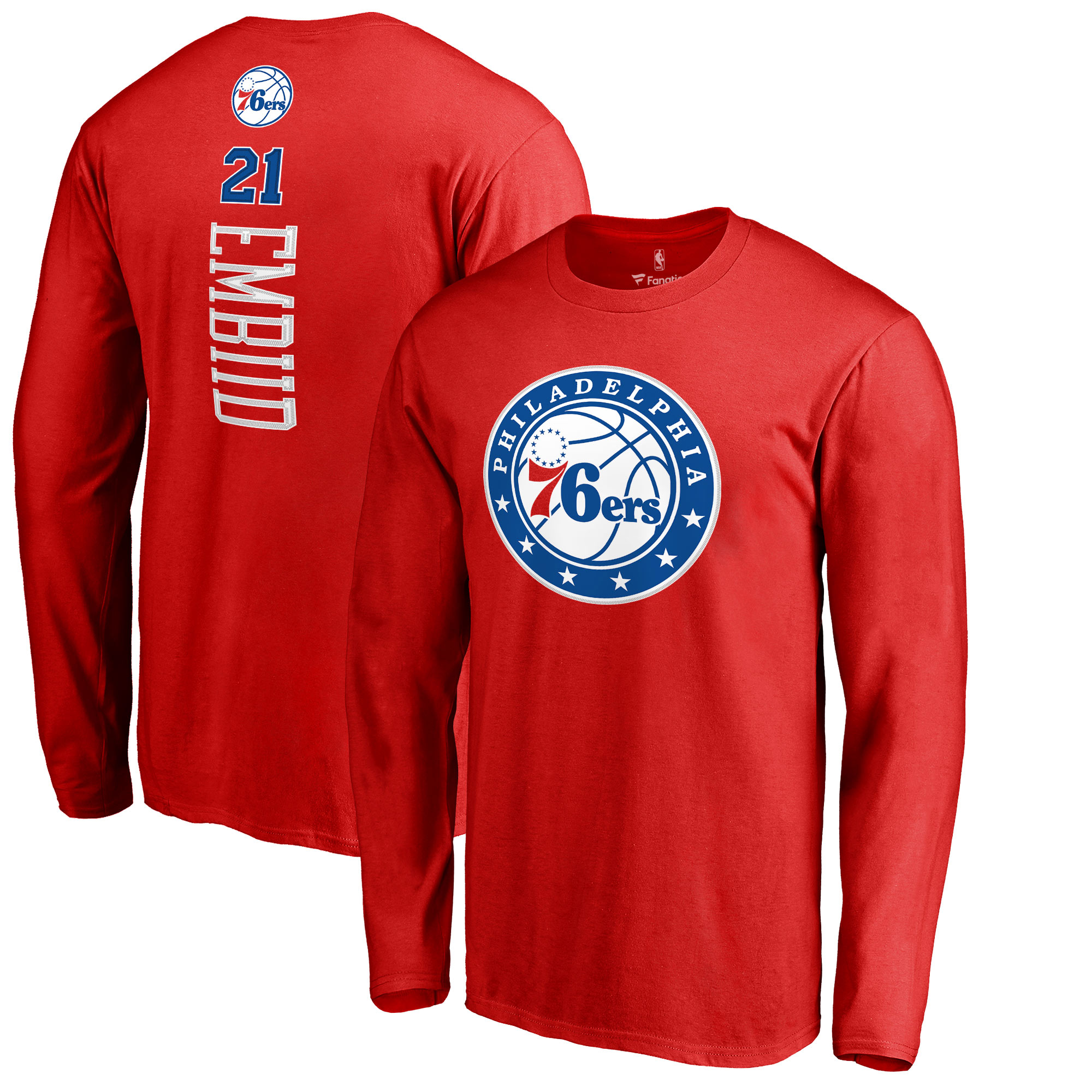 Joel Embiid Philadelphia 76ers Fanatics Branded Backer 3 Name & Number Long Sleeve T-Shirt - Red