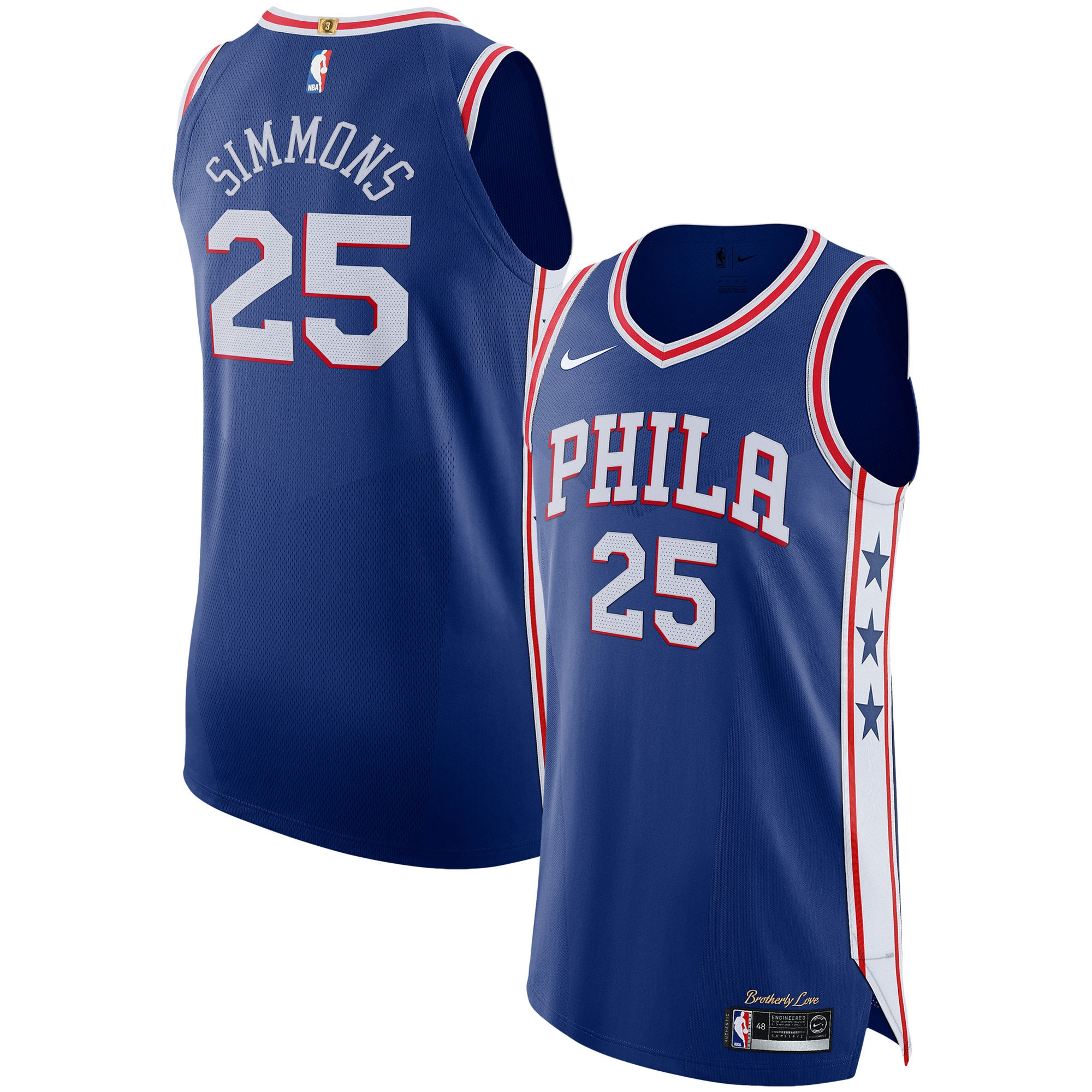 Ben Simmons Philadelphia 76ers Nike Authentic Basketball Jersey Royal - Icon Edition