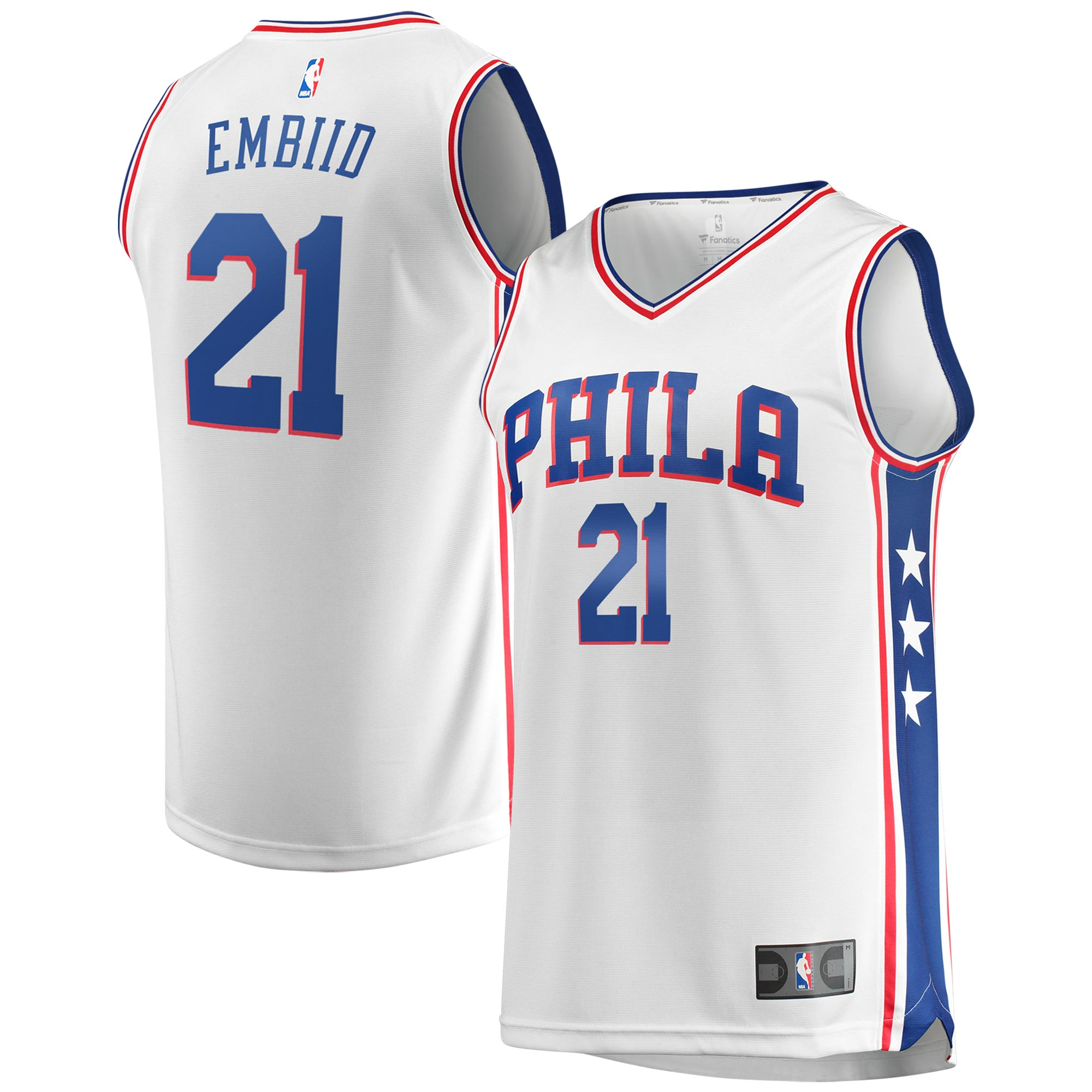 Joel Embiid Philadelphia 76ers Fanatics Branded Youth Fast Break Replica Jersey White - Association Edition