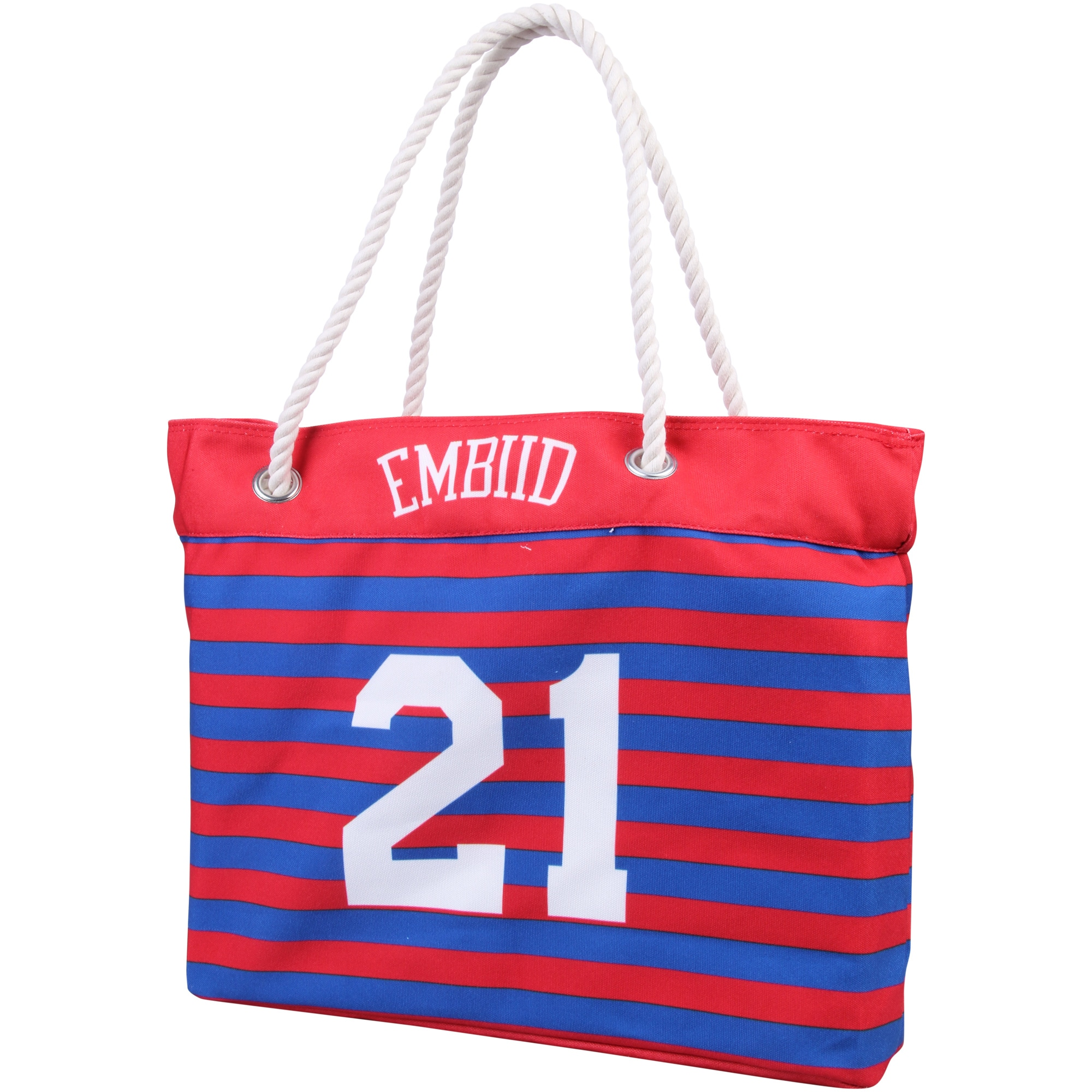 Joel Embiid Philadelphia 76ers Women's Player Nautical Stripe Tote Bag - Red