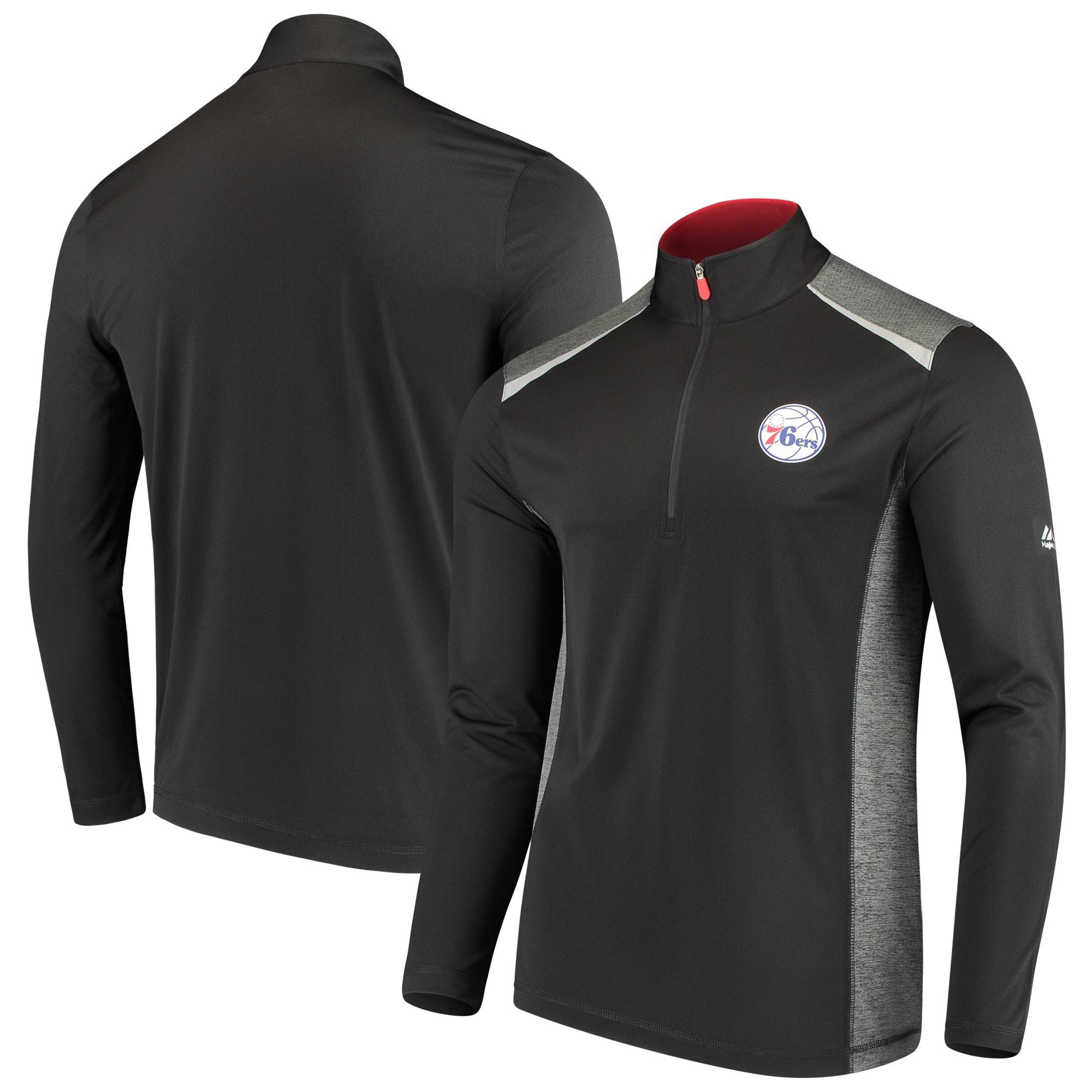 Philadelphia 76ers Majestic Loose Ball Half-Zip Pullover Jacket - Black