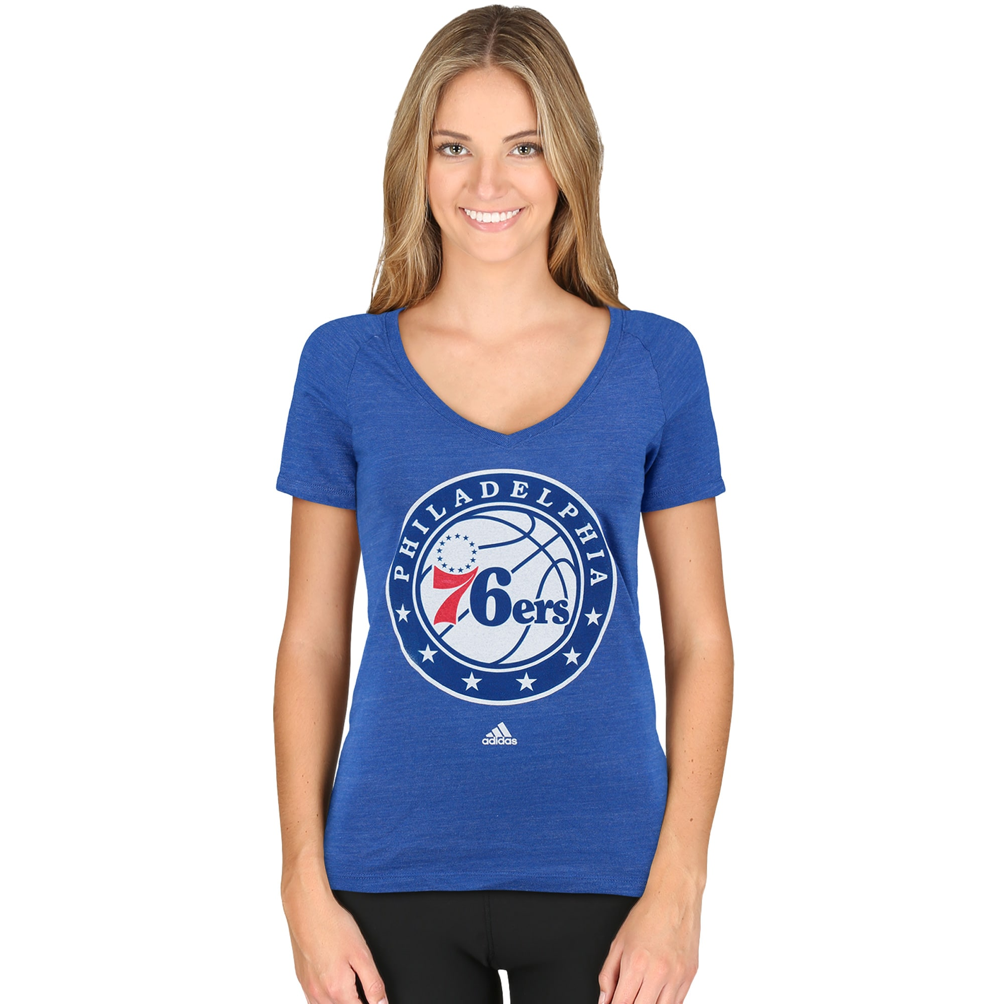 Philadelphia 76ers adidas Women's Primary Logo Tri-Blend V-Neck T-Shirt - Royal