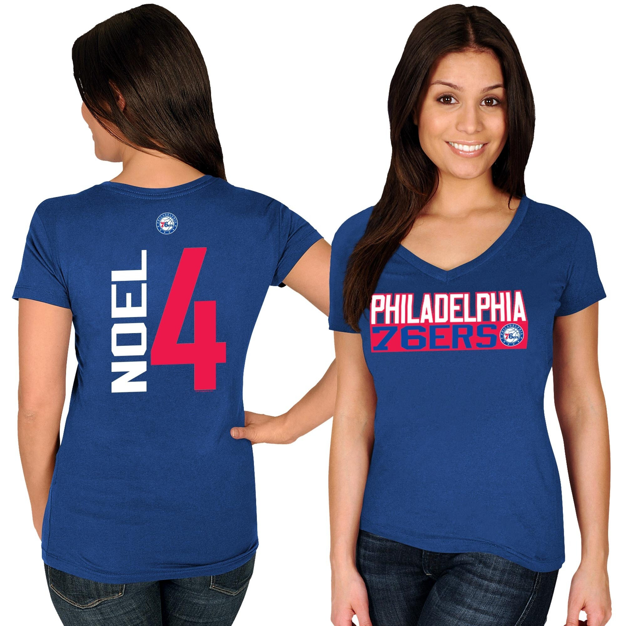 Nerlens Noel Philadelphia 76ers Majestic Women's Name & Number V-Neck T-Shirt - Royal