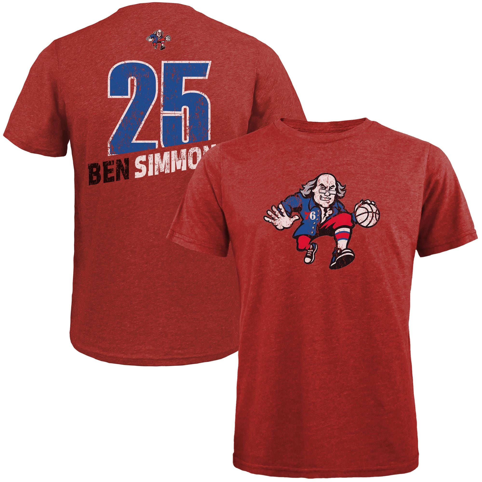 Ben Simmons Philadelphia 76ers Majestic Threads Name and Number Tri-Blend T-Shirt - Red