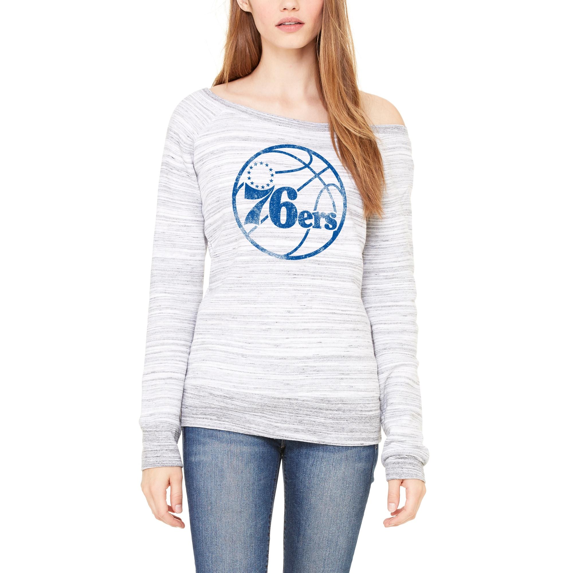 Philadelphia 76ers Let Loose by RNL Women's Game Day Wide Neck Sweatshirt - Ash