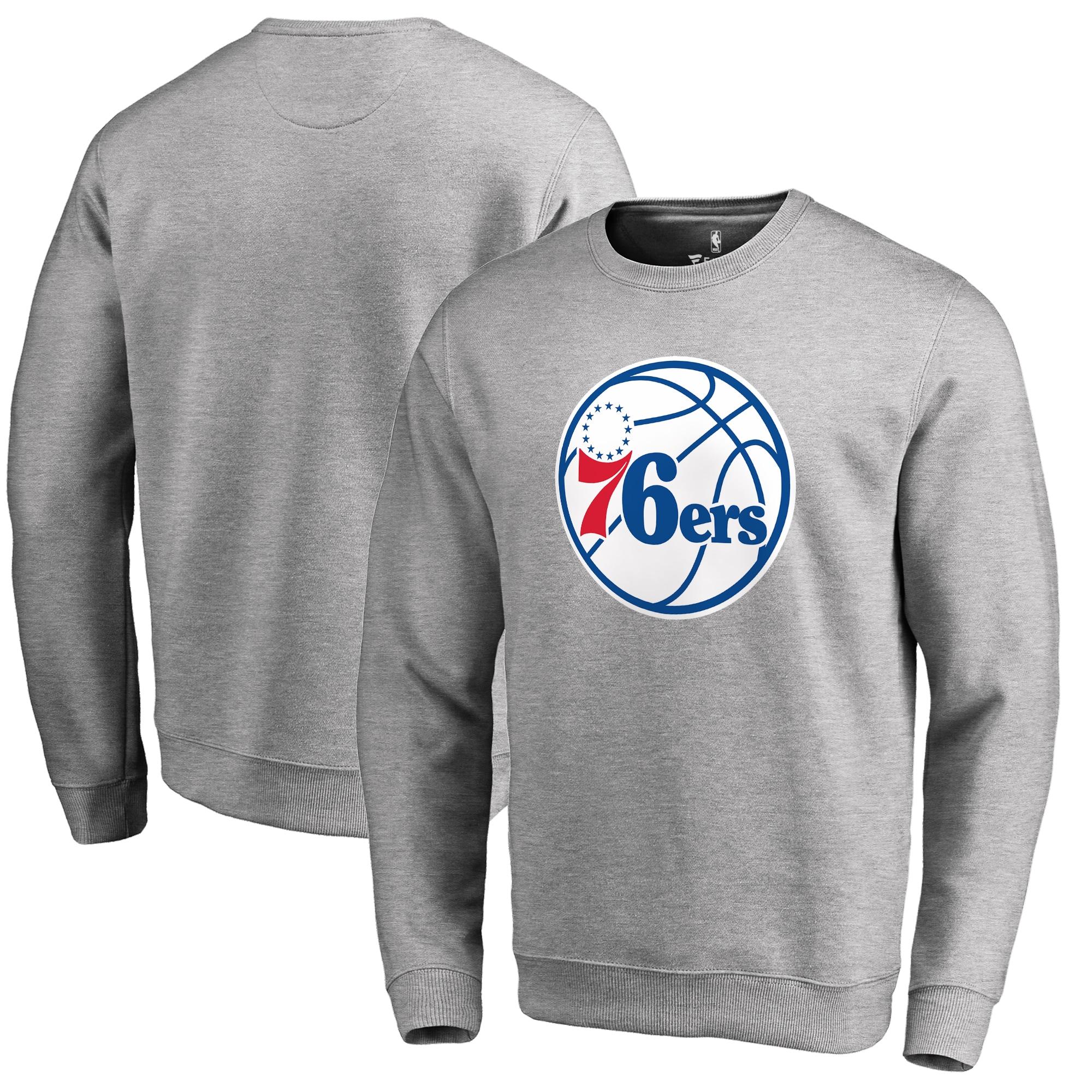 Philadelphia 76ers Fanatics Branded Primary Logo Sweatshirt - Heathered Gray